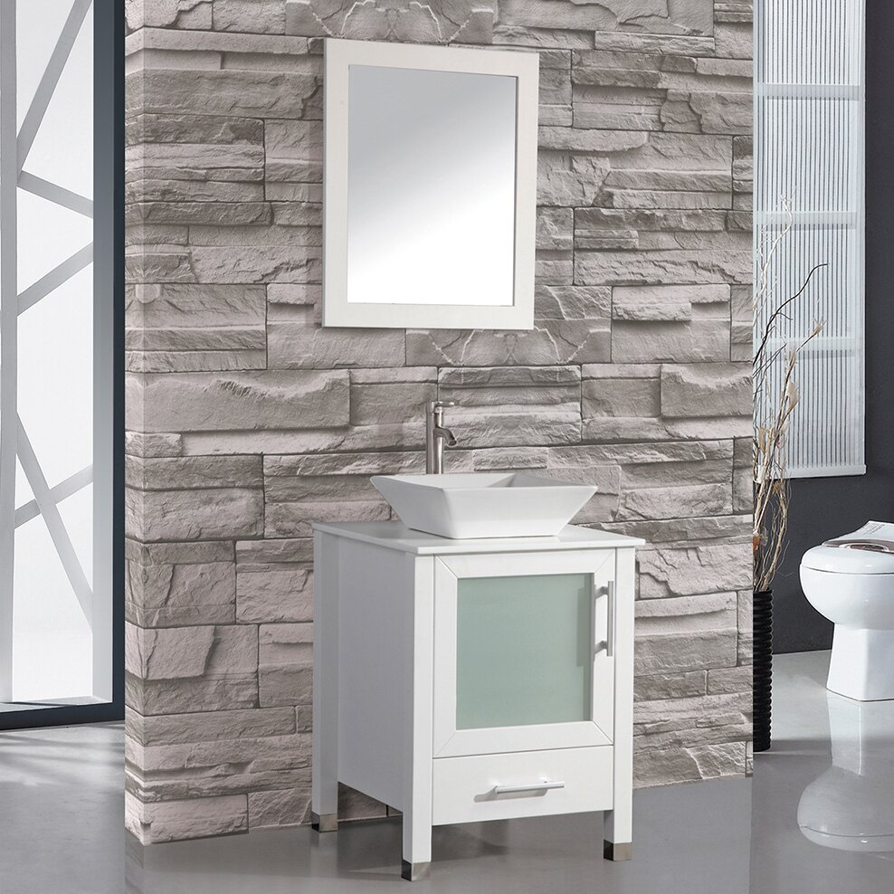 Beautiful MTD Vanities MTD8137W Malta White Single Basin Bathroom Vanity Sets