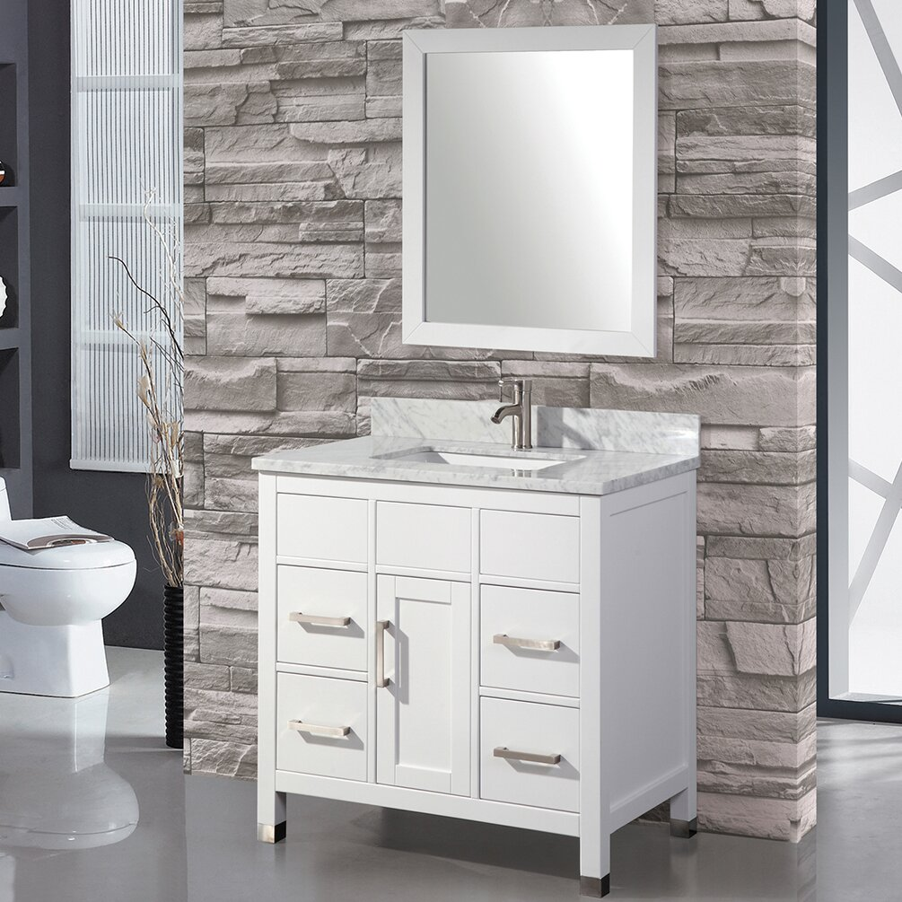 mtd vanities ricca 36 single sink bathroom vanity set with mirror