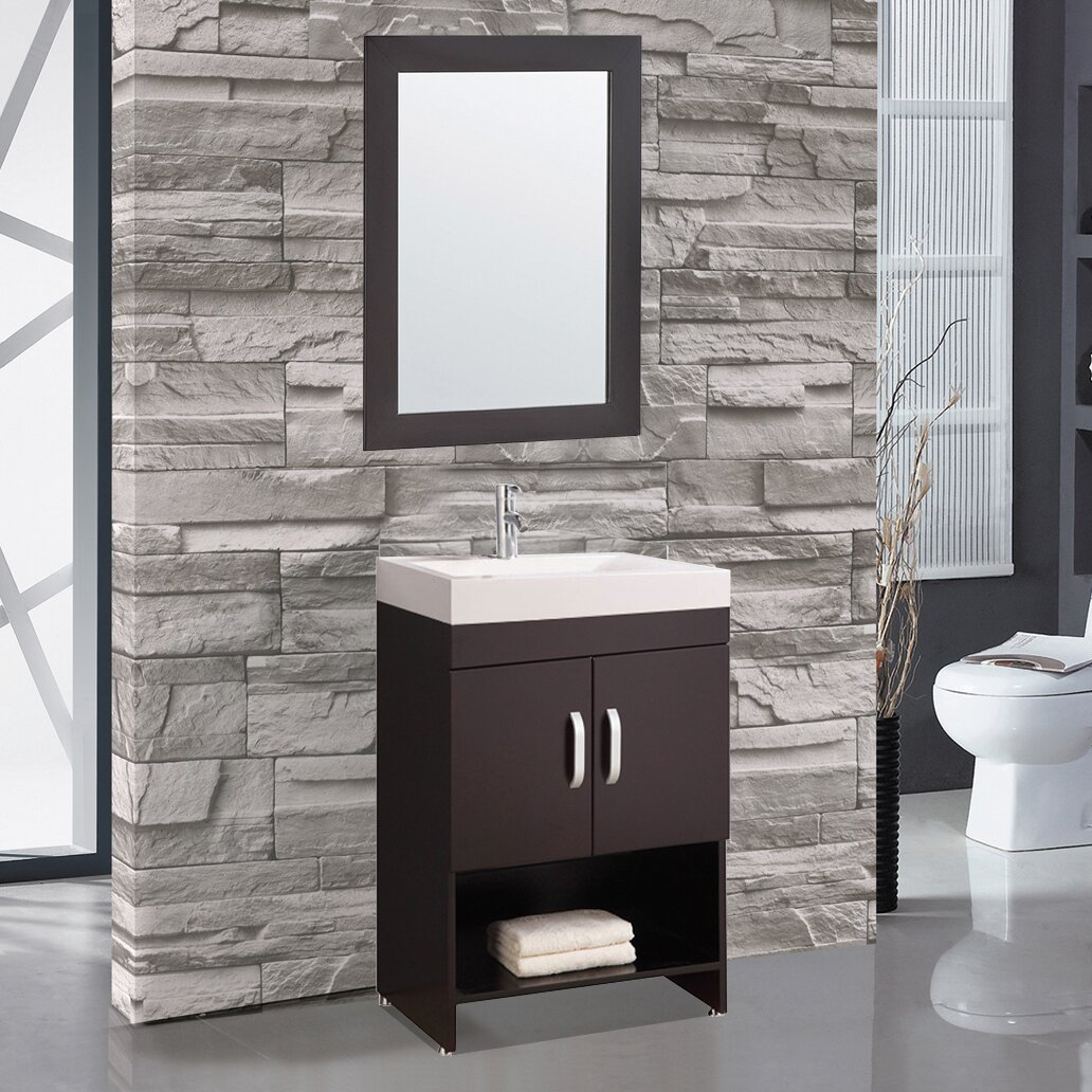 Mtdvanities greece 24 single sink bathroom vanity set with mirror reviews wayfair Bathroom sink and vanity sets