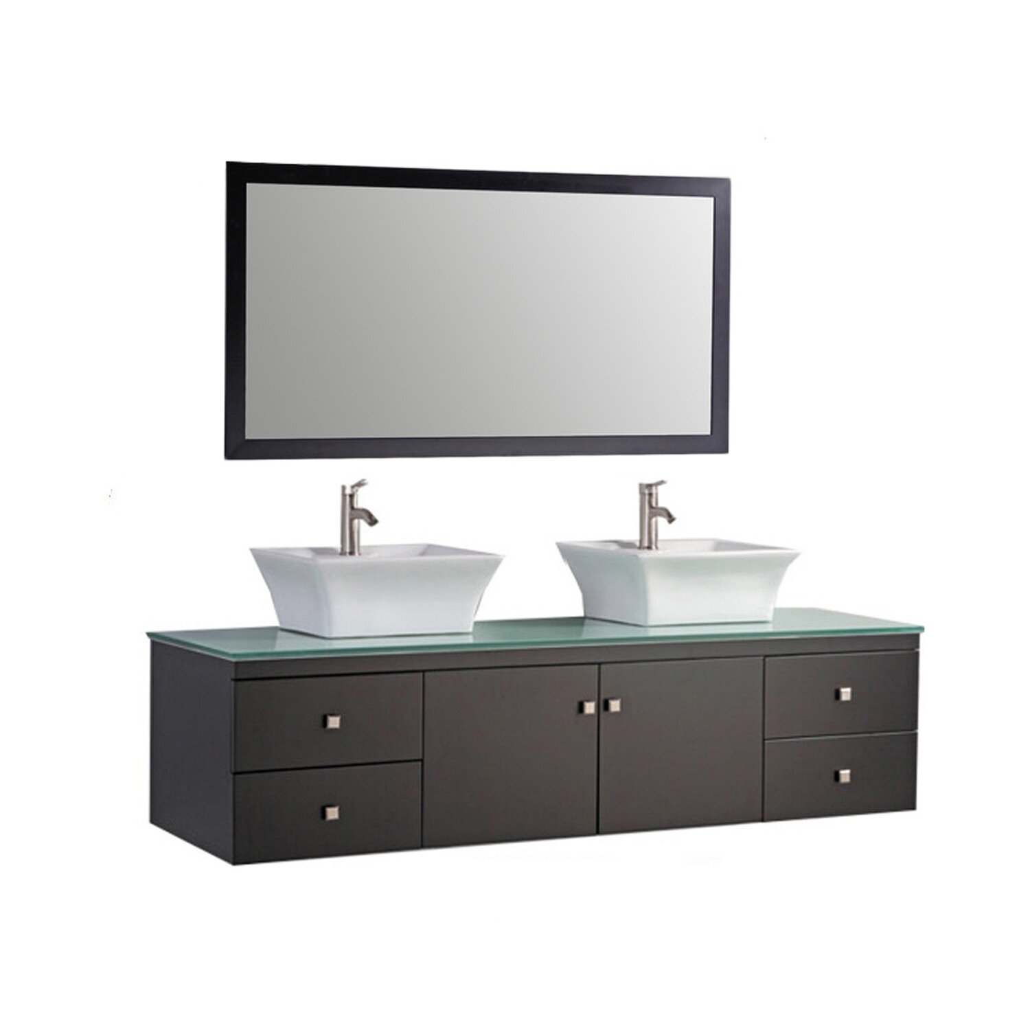Mtdvanities Nepal 72 Floating Double Bathroom Vanity Set