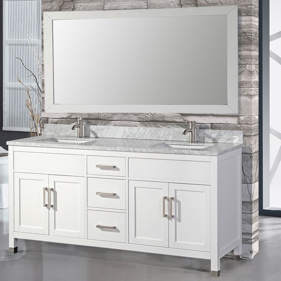 Mtdvanities ricca 72 double sink bathroom vanity set with single mirror reviews wayfair Bathroom sink and vanity sets