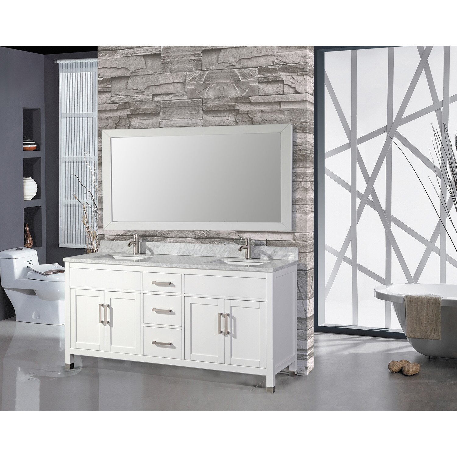 Mtdvanities ricca 72 double sink bathroom vanity set with - 72 inch single sink bathroom vanity ...