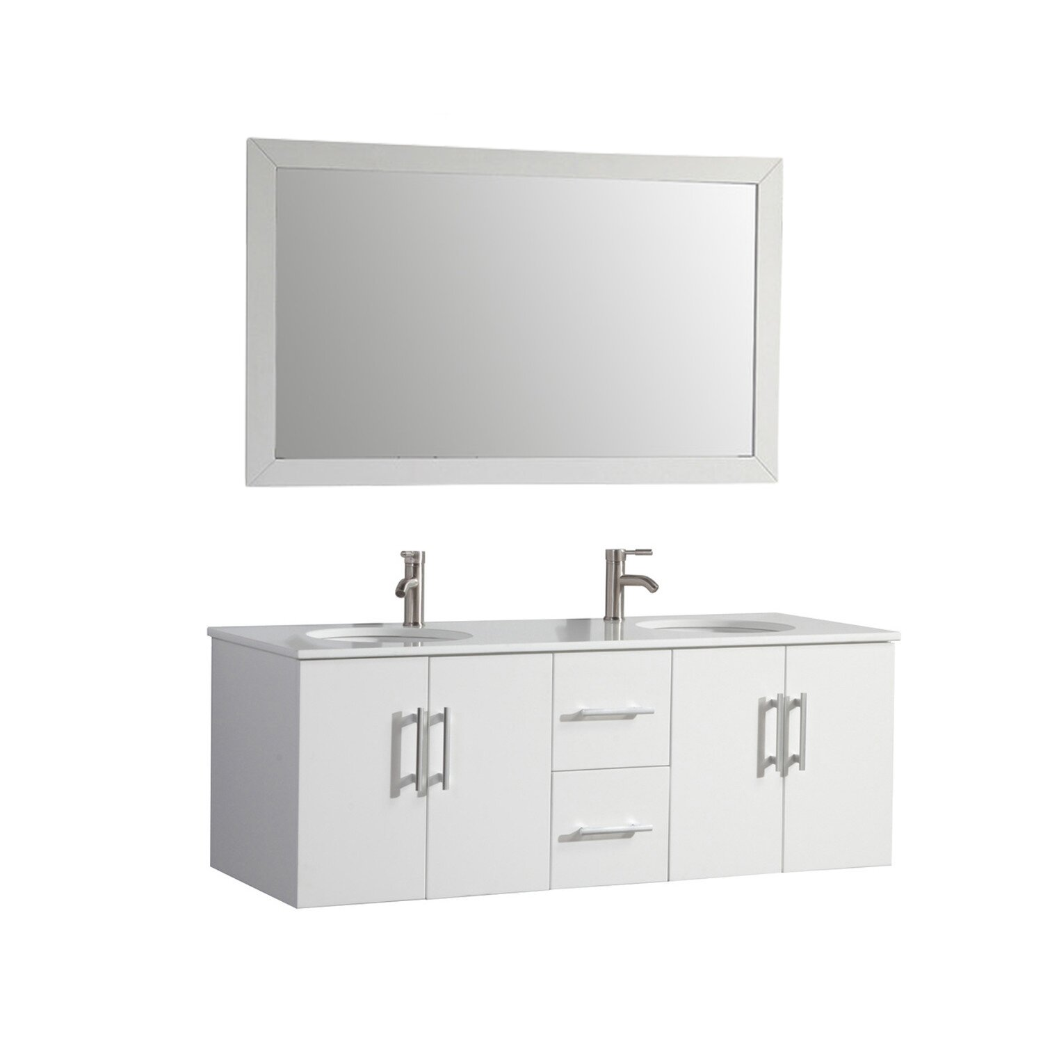 Mtdvanities nepal 60 double sink bathroom vanity set with for Kitchen sink in nepal