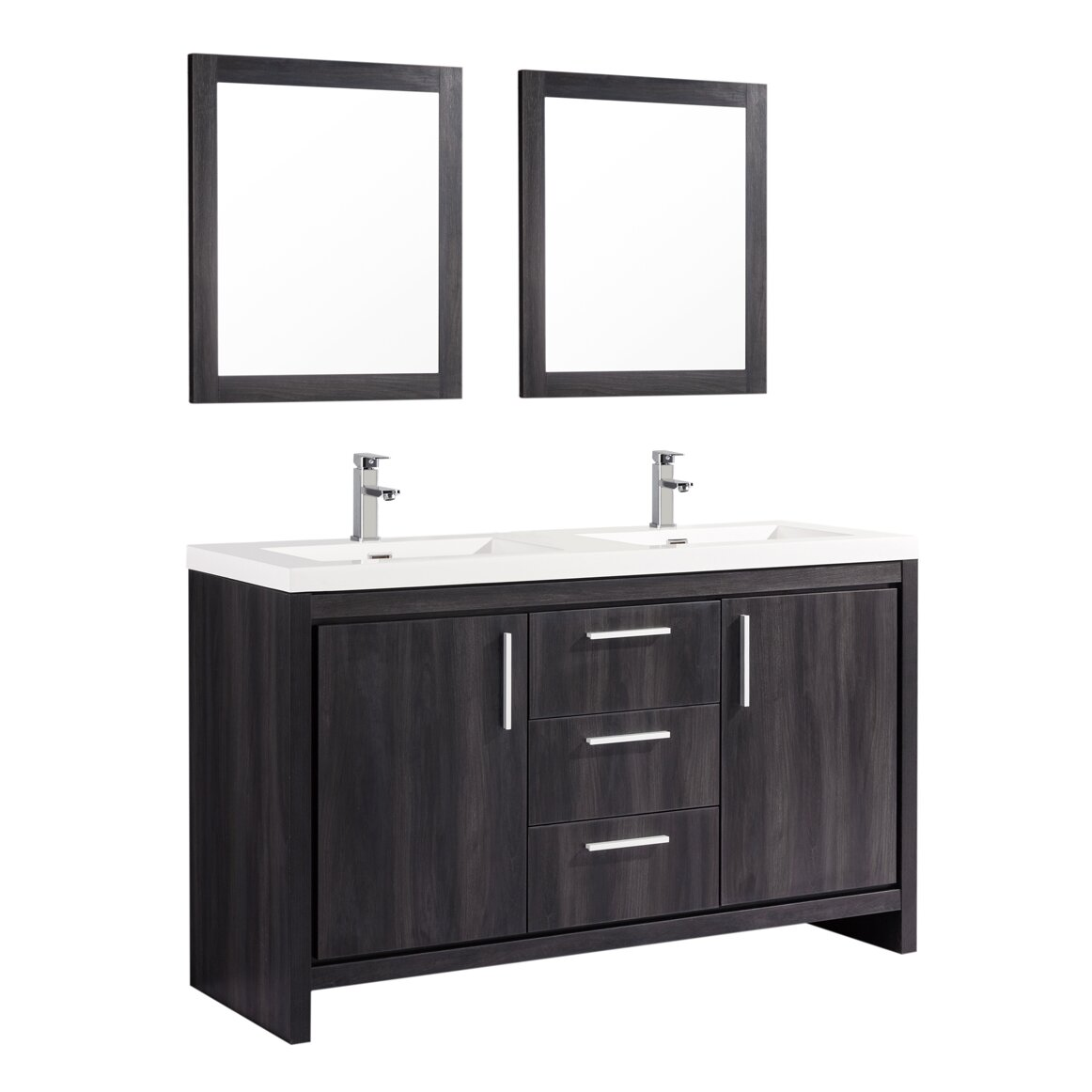 Mtdvanities miami 59 double sink modern bathroom vanity set with mirror wayfair Bathroom sink and vanity sets