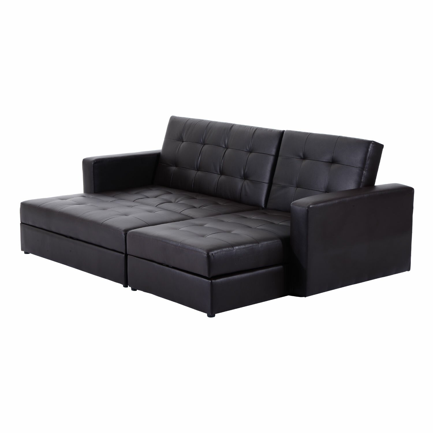Homcom storage sleeper couch sofa bed wayfair uk for 3 on a couch