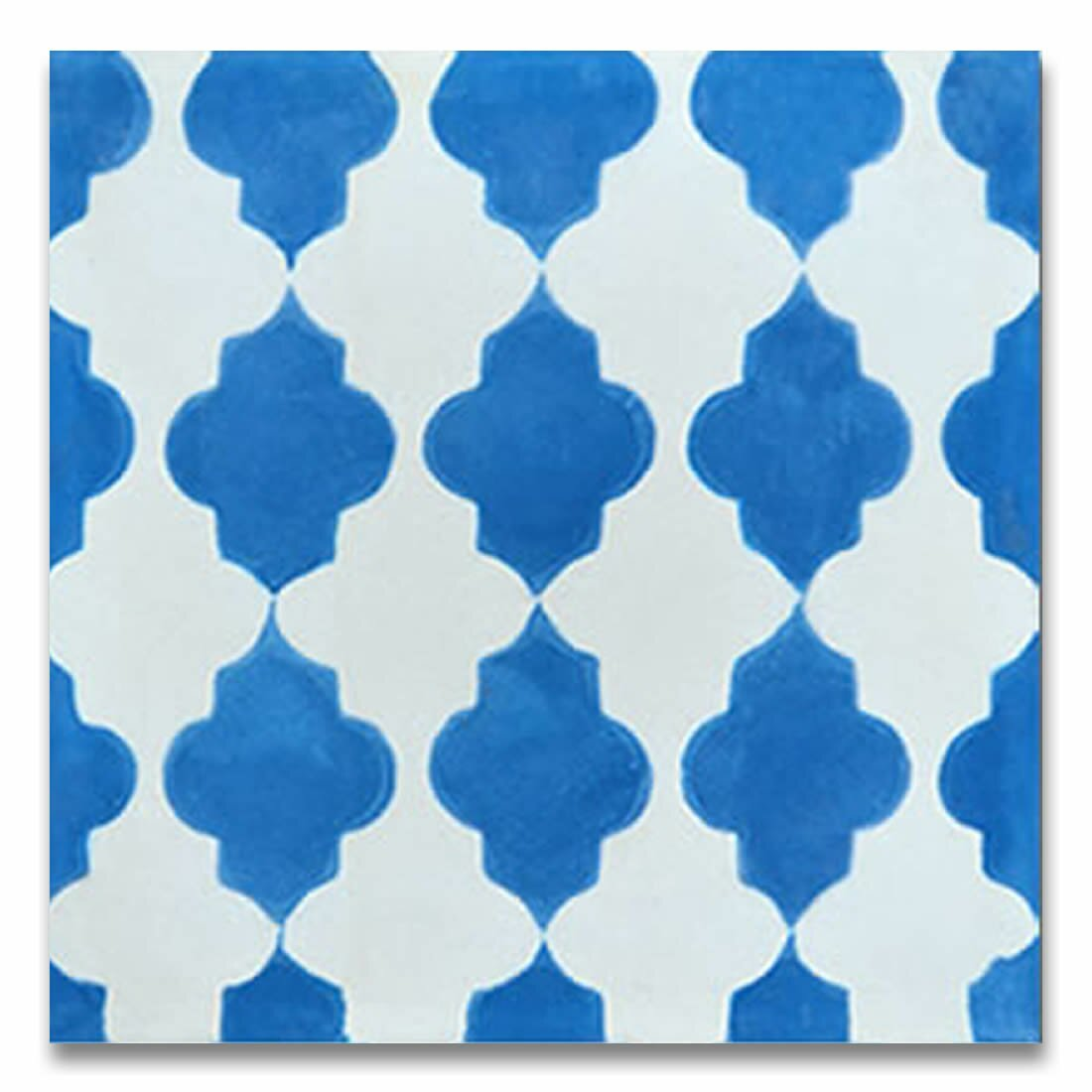 Moroccan mosaic tile house tafraout 8 x 8 cement tile in for Blue and white cement tile