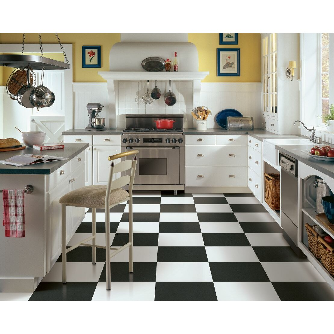 """White Kitchen Flooring: Armstrong Alterna Solid 16"""" X 16"""" Luxury Vinyl Tile In"""