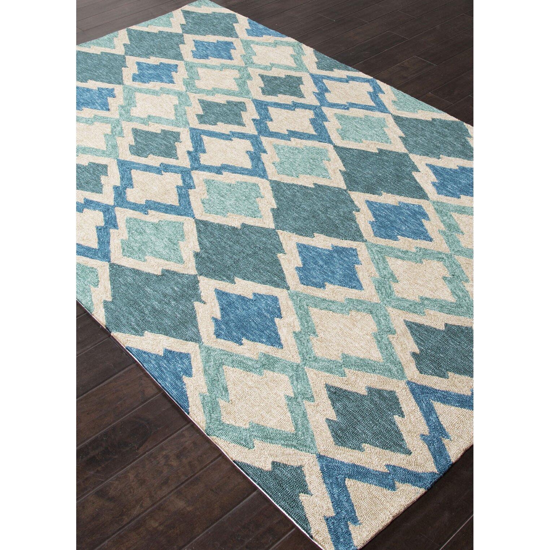 Beachcrest home mclellen hand woven blue ivory indoor for Blue indoor outdoor rug