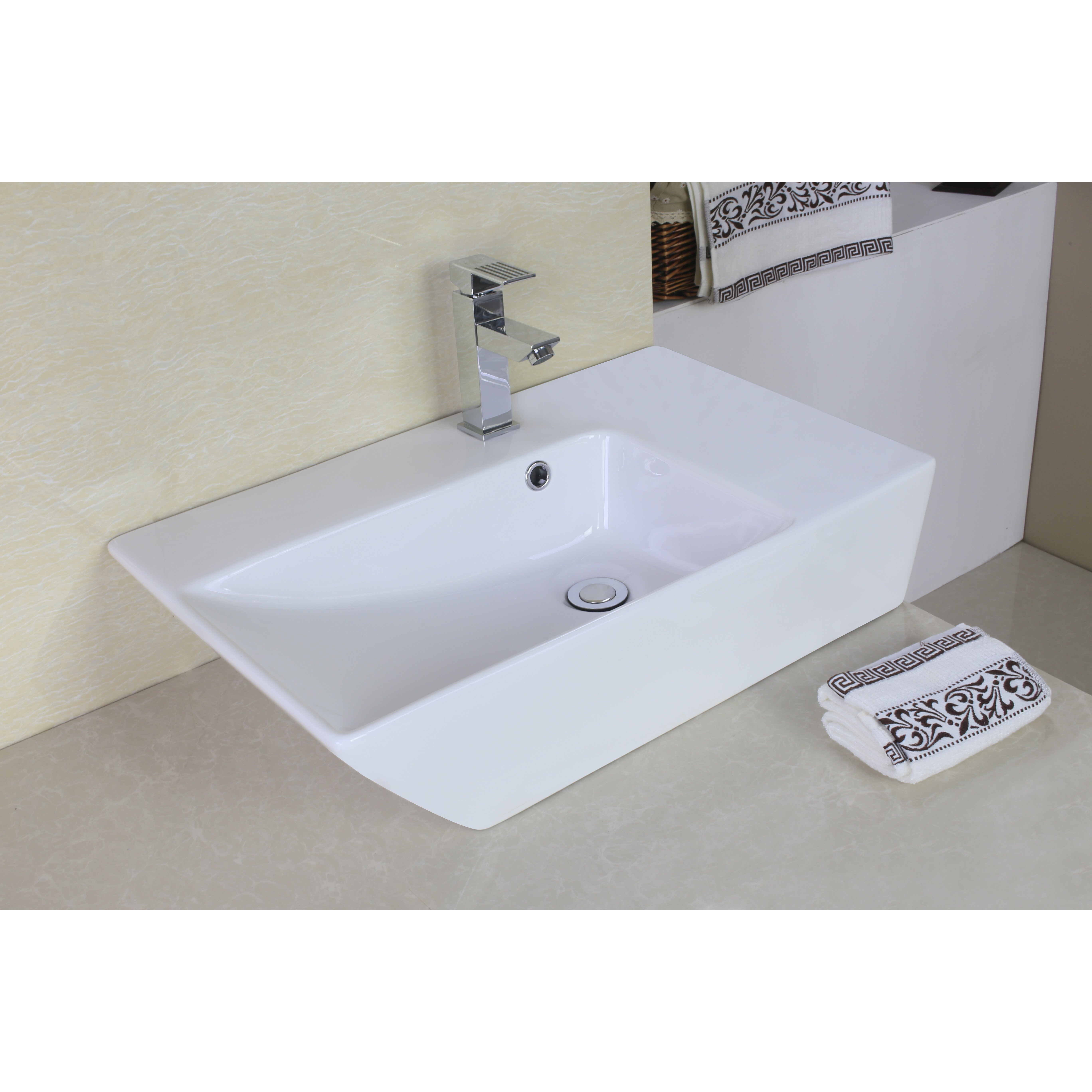 Rectangular Vessel Sink With Overflow : American Imaginations Rectangle Vessel Sink with Overflow & Reviews ...