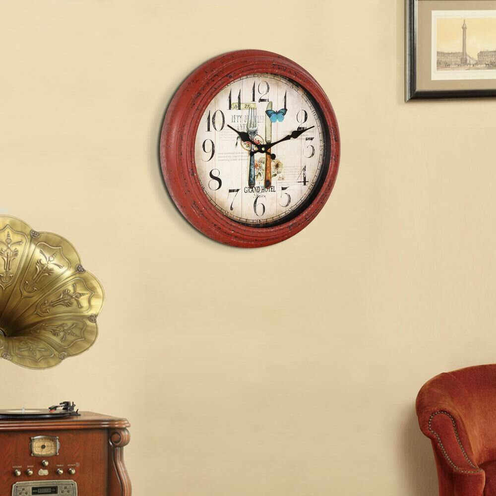 round fork and knife design kitchen wall hanging clock by adecotrading