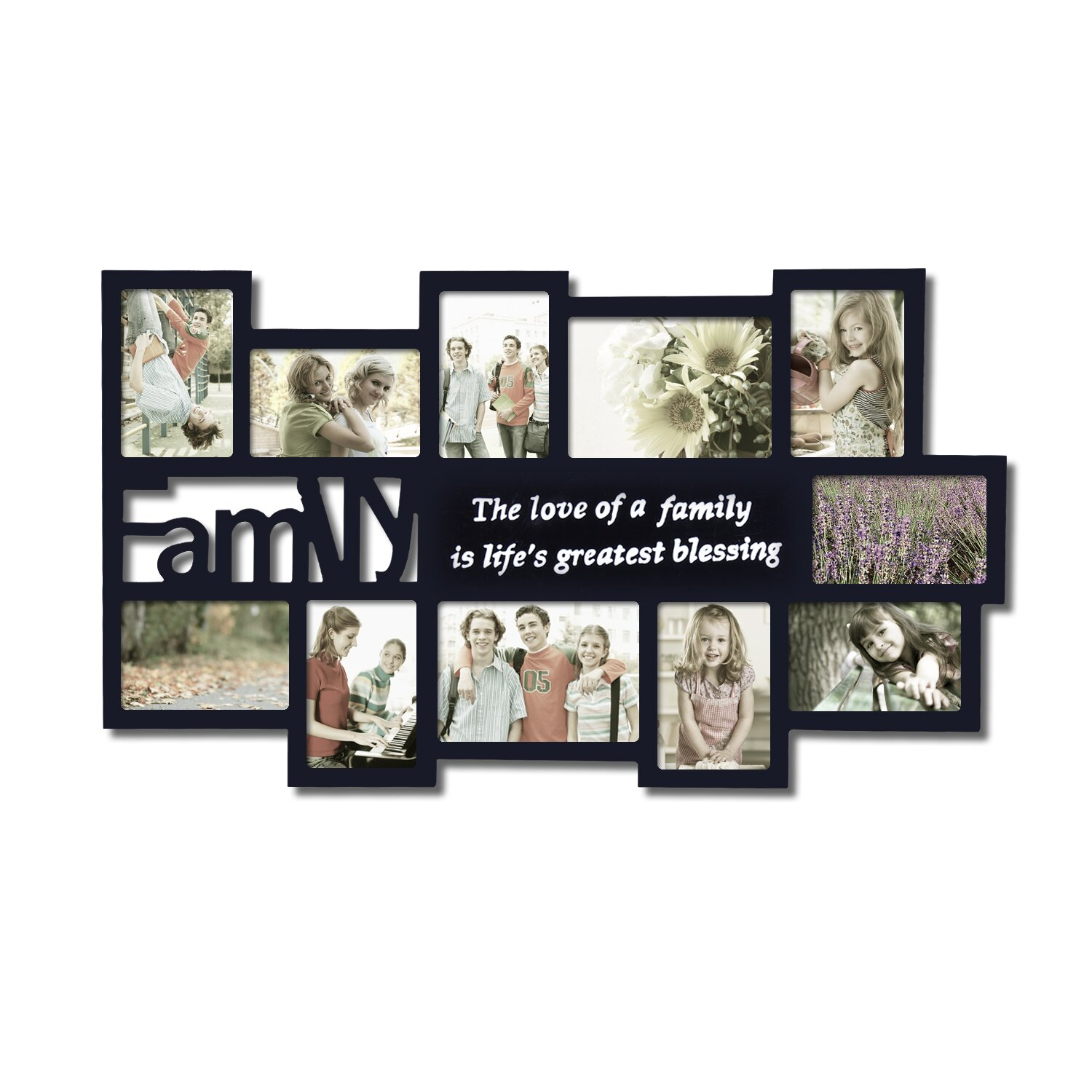 adecotrading 11 opening wooden photo collage wall hanging. Black Bedroom Furniture Sets. Home Design Ideas