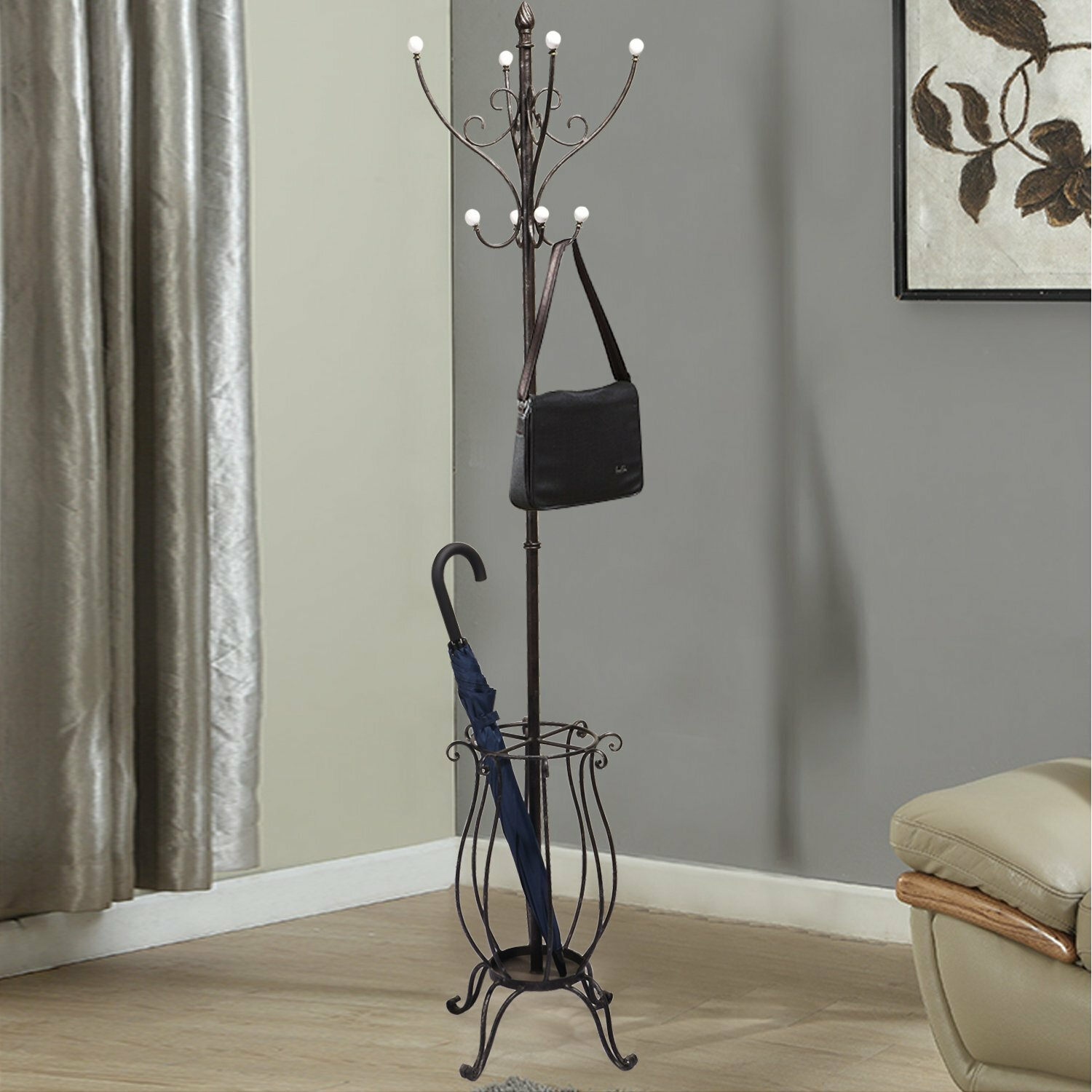 Adecotrading Iron Coat Hanging Rack With Umbrella Stand