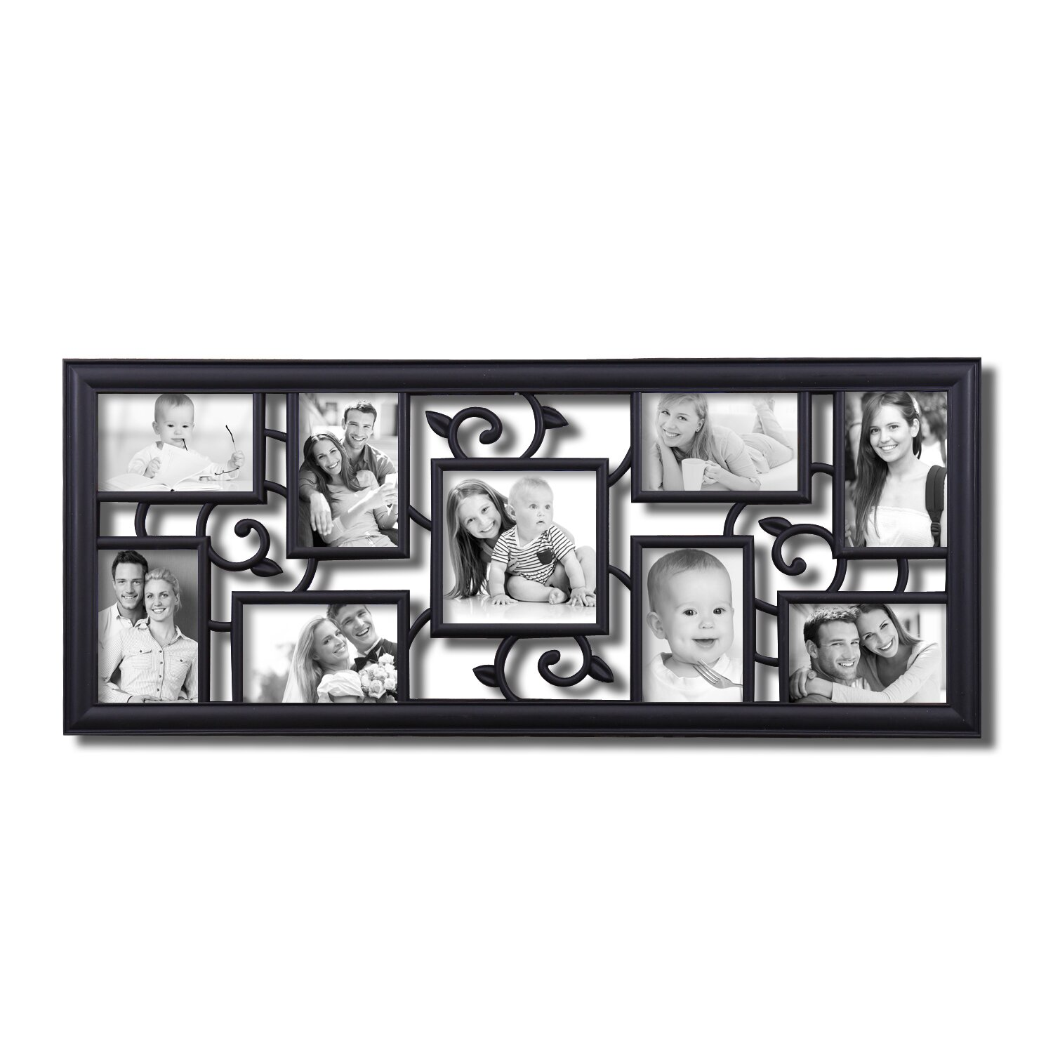 adecotrading 9 opening decorative filigree wall hanging collage picture frame reviews wayfair. Black Bedroom Furniture Sets. Home Design Ideas