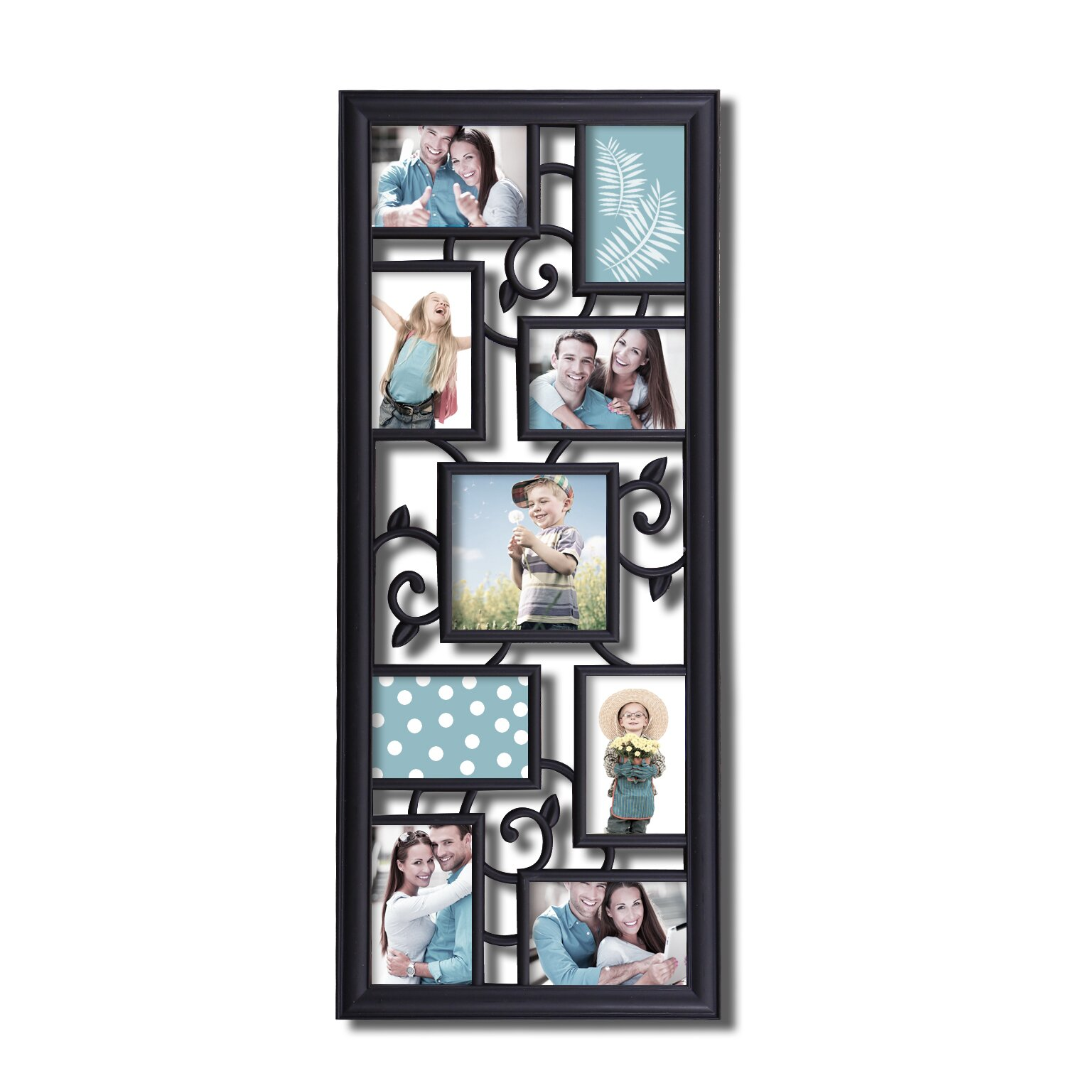adecotrading 9 opening decorative filigree wall hanging collage picture frame wayfair. Black Bedroom Furniture Sets. Home Design Ideas