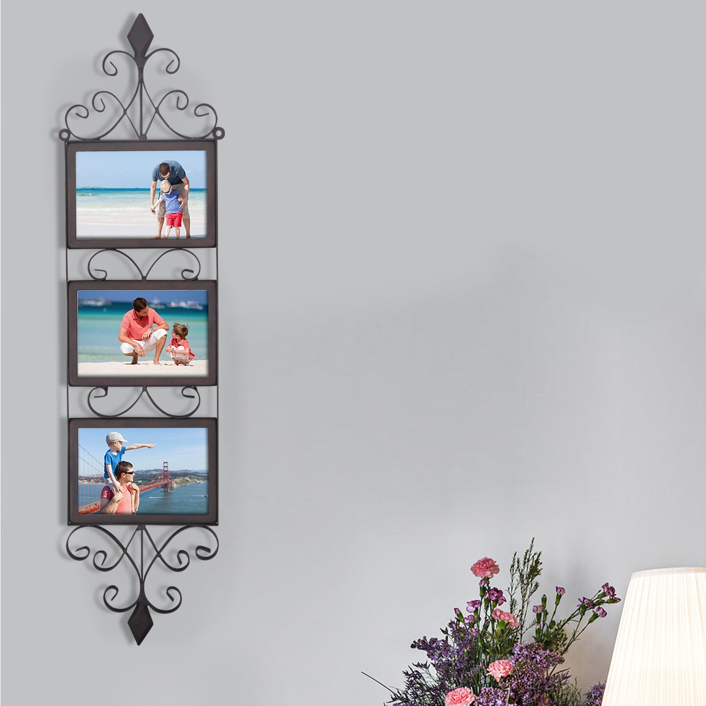 adecotrading 3 opening decorative iron metal wall hanging collage picture frame wayfair. Black Bedroom Furniture Sets. Home Design Ideas