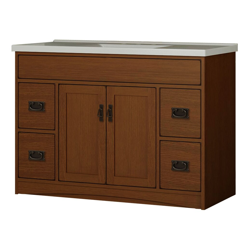 Sunny wood mission oak 48 bathroom vanity base wayfair for Oak bathroom vanity