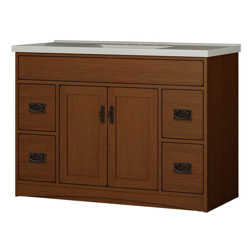 Sunny wood mission oak 48 bathroom vanity base wayfair for 48 inch bathroom vanity base