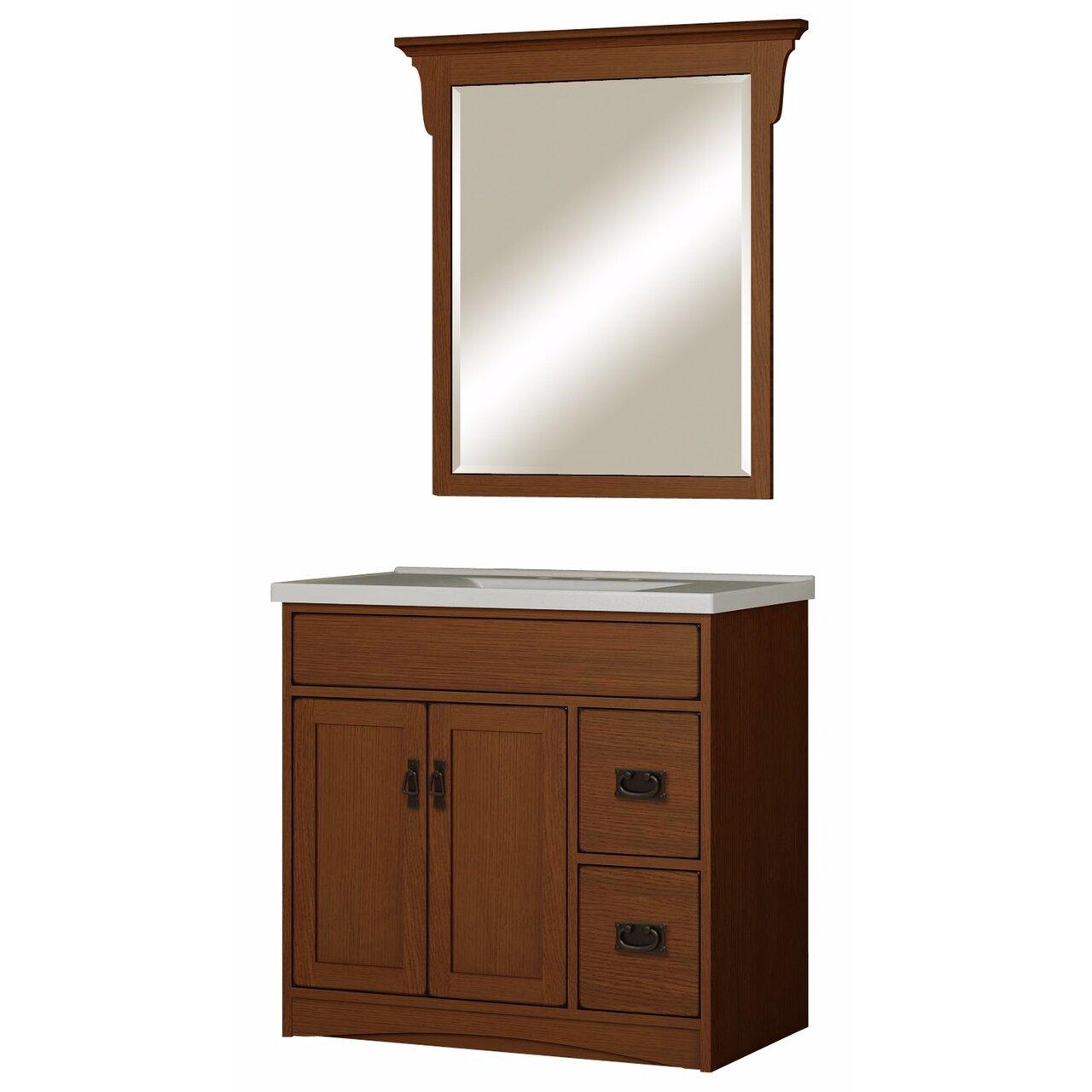 Sunny wood mission oak 36 bathroom vanity base wayfair for Oak bathroom vanity