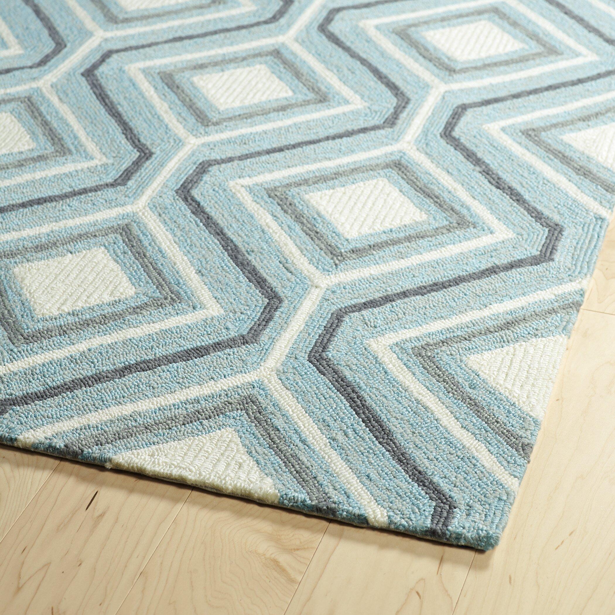Kaleen escape hand tufted blue indoor outdoor area rug for Blue indoor outdoor rug