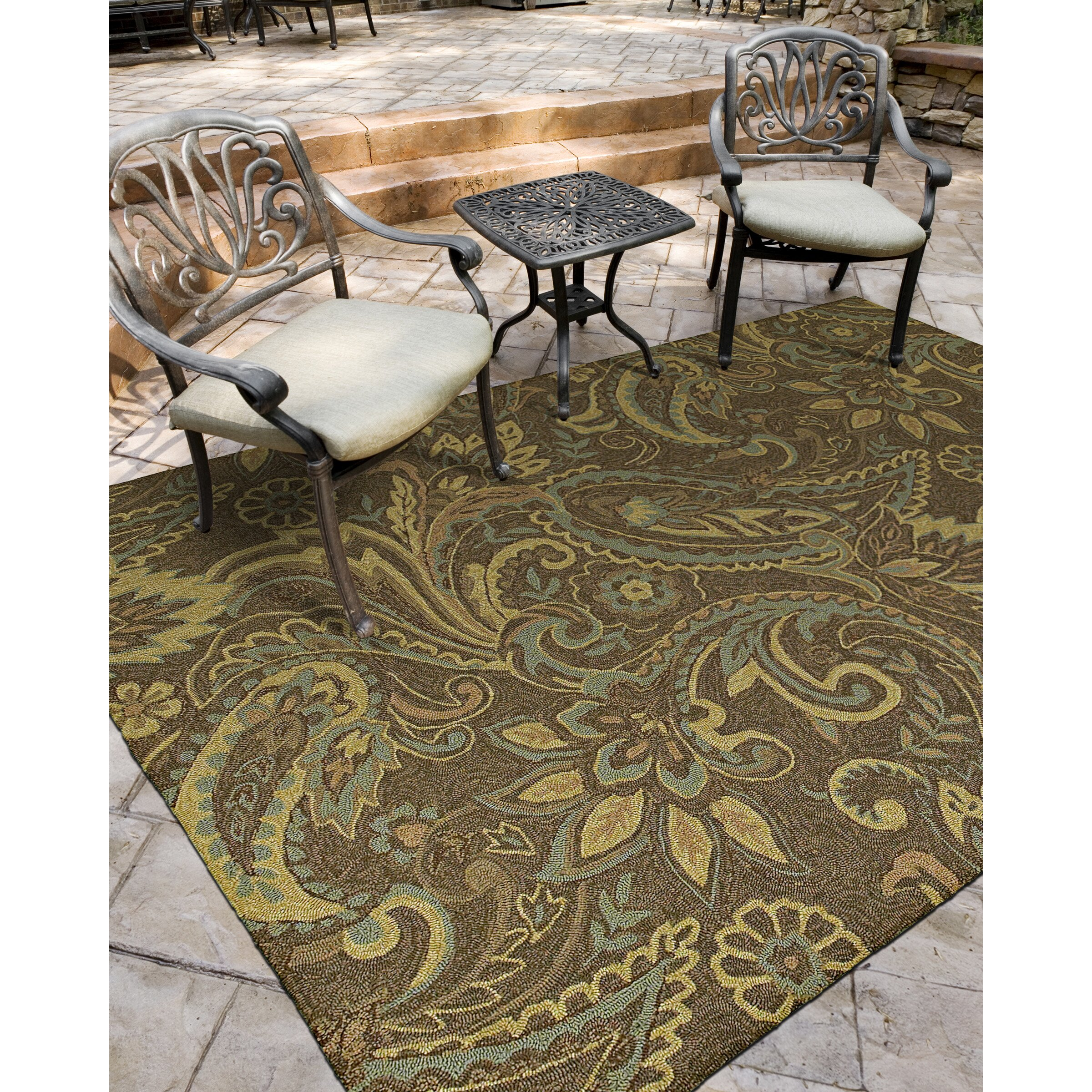 Kaleen home porch rivers end mocha indoor outdoor area for Indoor outdoor runners rugs