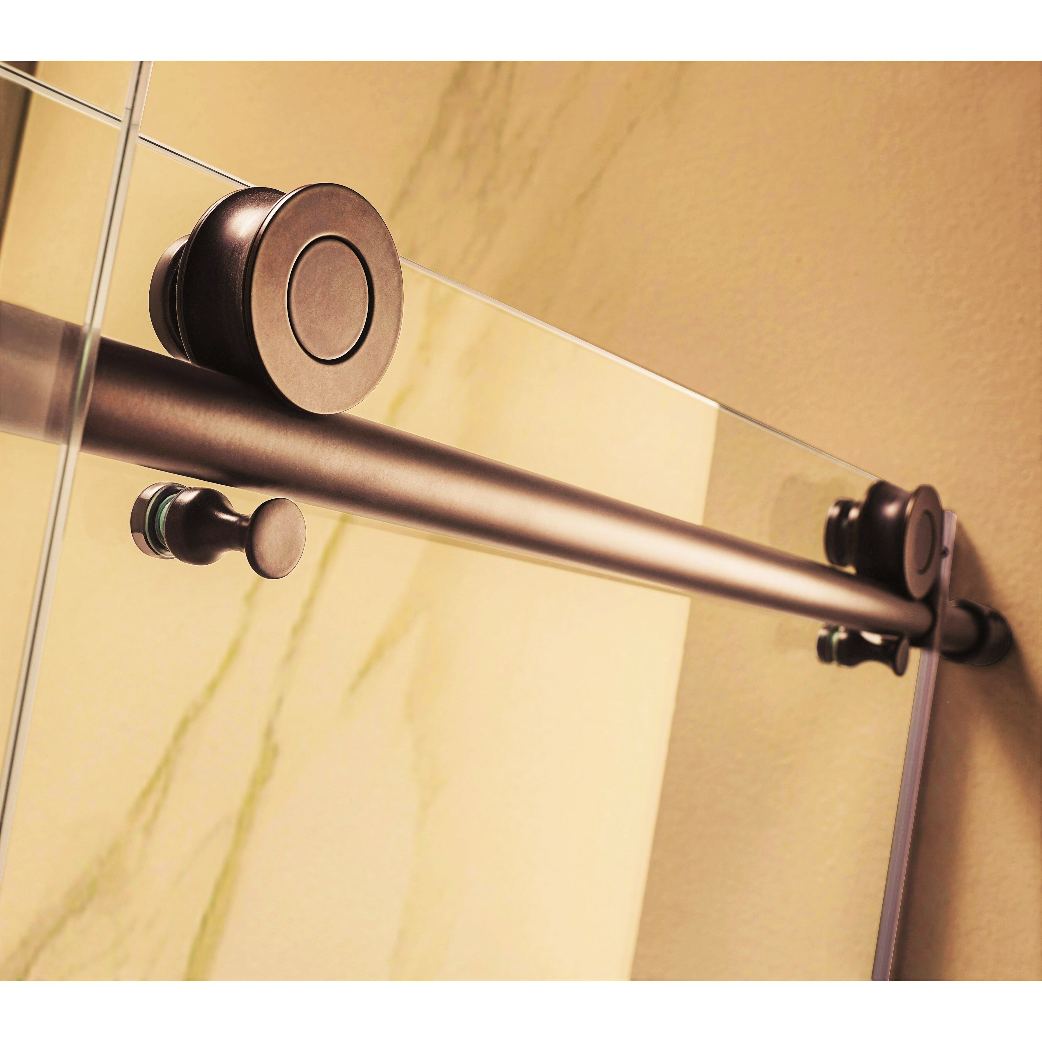 republic trident mocha 76 quot x 56 60 quot frameless sliding rubbed bronze shower door