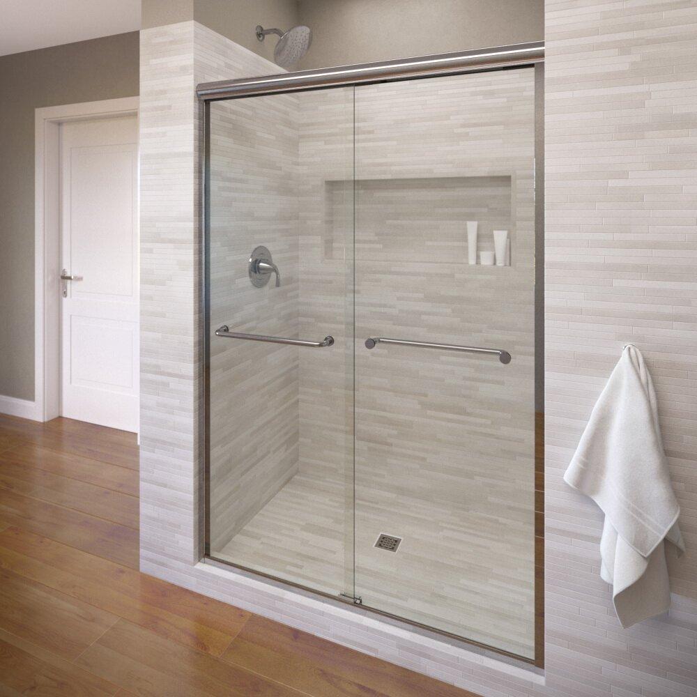"""Sliding Bathroom Entry Doors: Basco Infinity 59"""" X 70"""" Frameless Bypass Sliding Shower"""