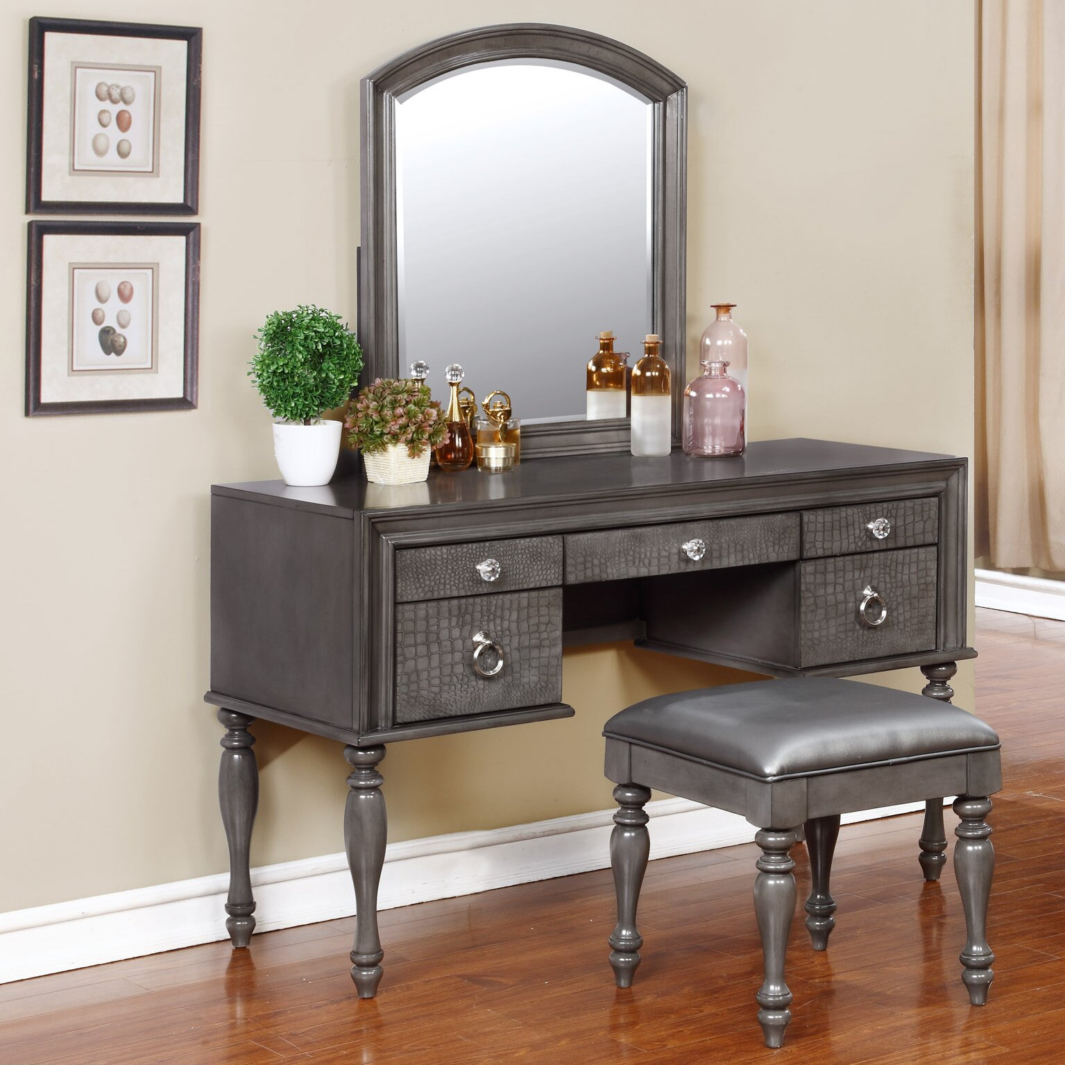 Avalon furniture glam style vanity set with mirror for Mirror vanity