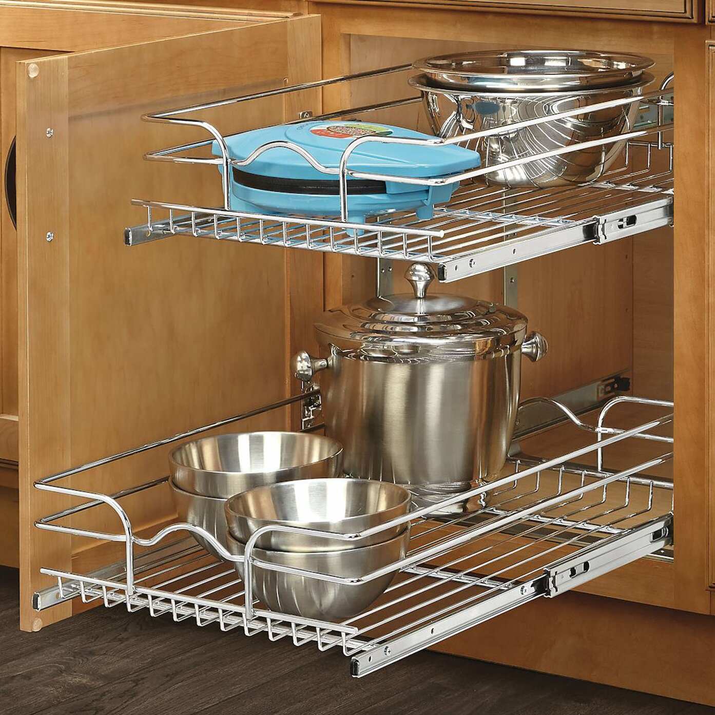 "Kitchen Shelf Metal: Rev-A-Shelf 15"" X 22"" 2 Tier Wire Basket Cabinet Organizer"