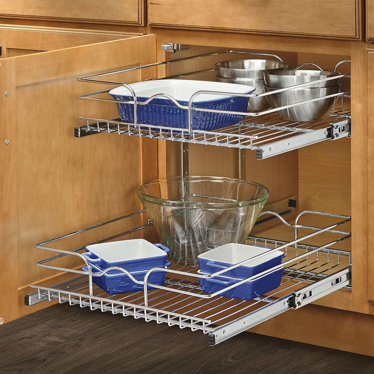 rev a shelf 18 two tier wire basket reviews wayfair. Black Bedroom Furniture Sets. Home Design Ideas