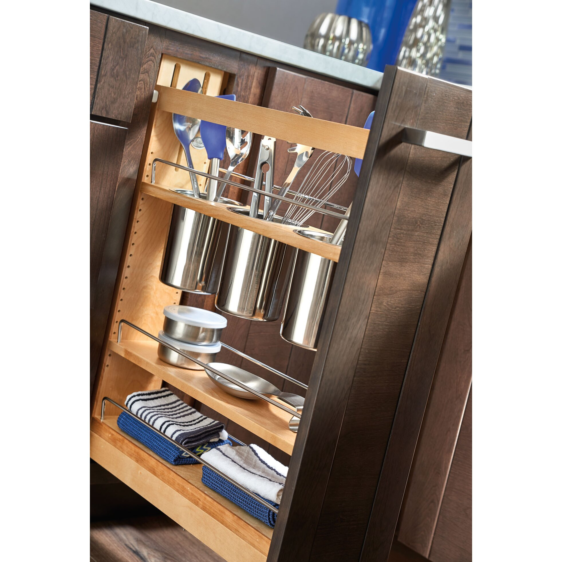 "Kitchen Cabinet Pull Out Organizer: Rev-A-Shelf 5"" Pull-Out Cabinet Utensil Organizer"
