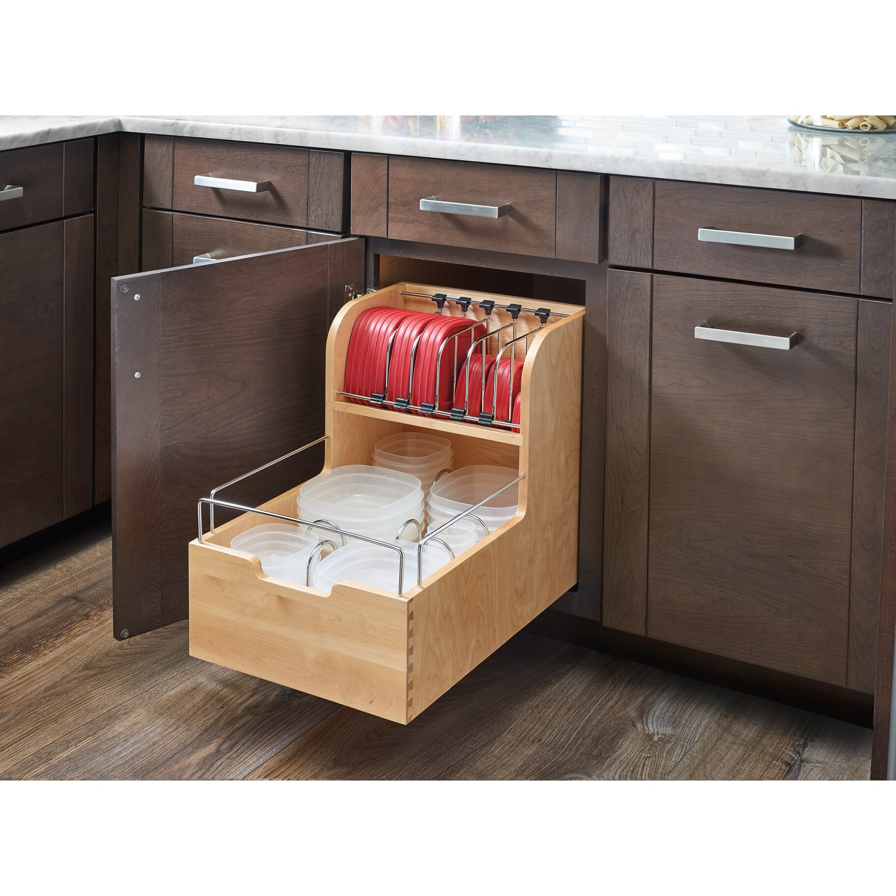 Rev a shelf wood food storage container organizer for base for Kitchen cabinet organizers