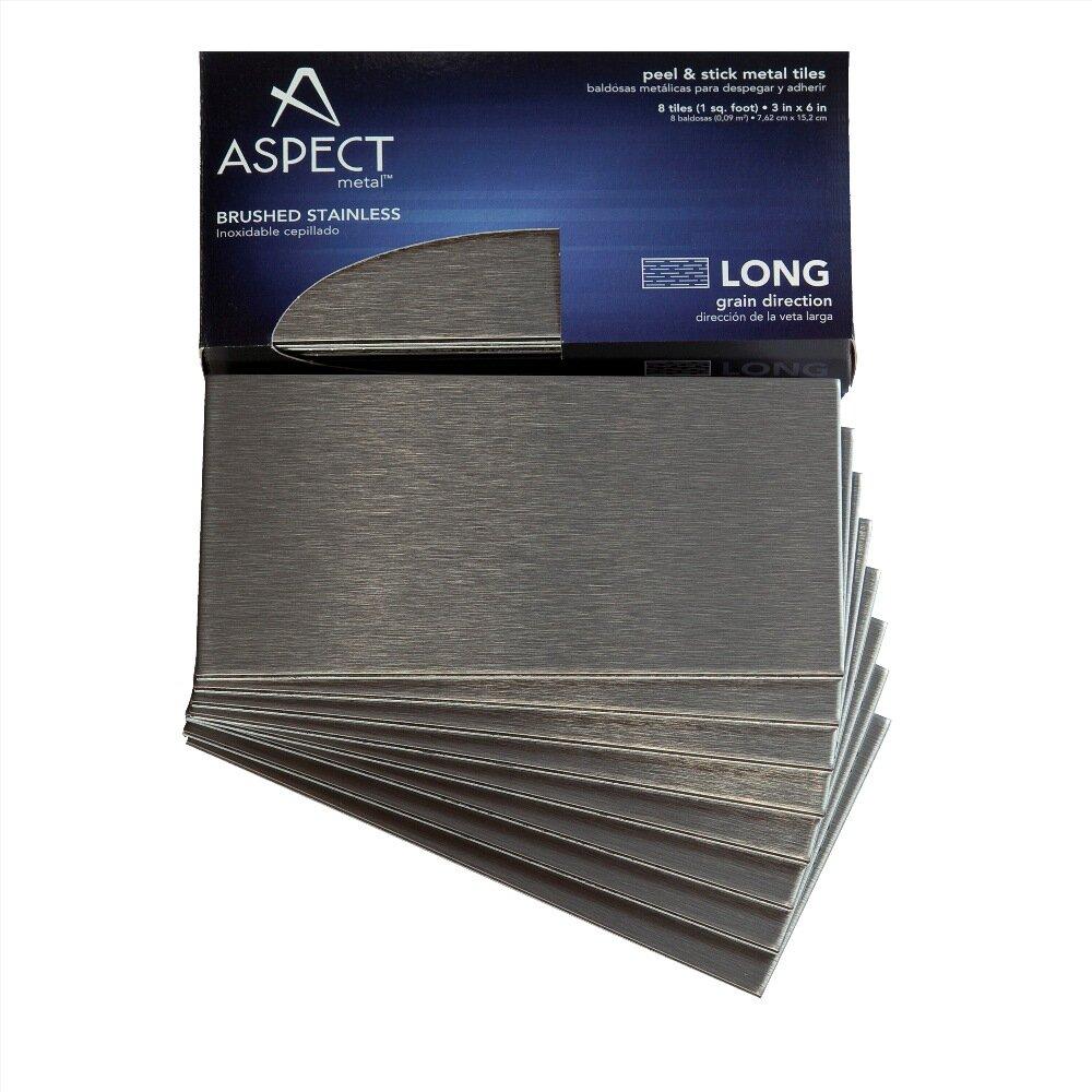 Aspect long grain 3quot x 6quot metal peel stick subway tile for Stainless steel subway tile backsplash peel and stick