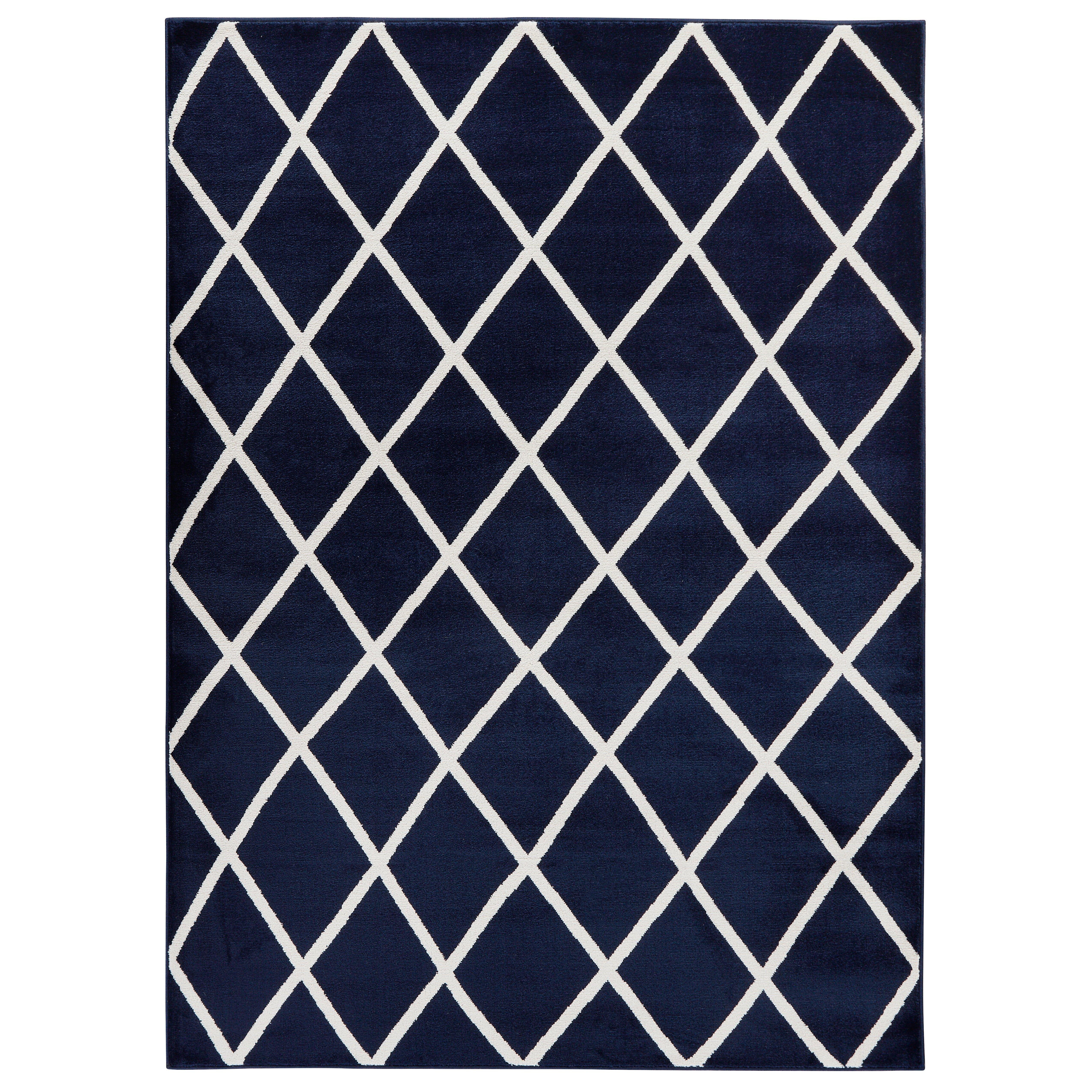 Diagona Designs Jasmin Moroccan Trellis Navy/Ivory Area