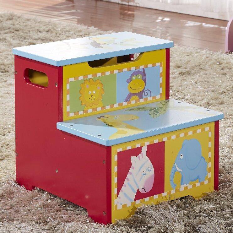 bellasario collection kid 39 s animal 2 step step stool with storage wayfair. Black Bedroom Furniture Sets. Home Design Ideas