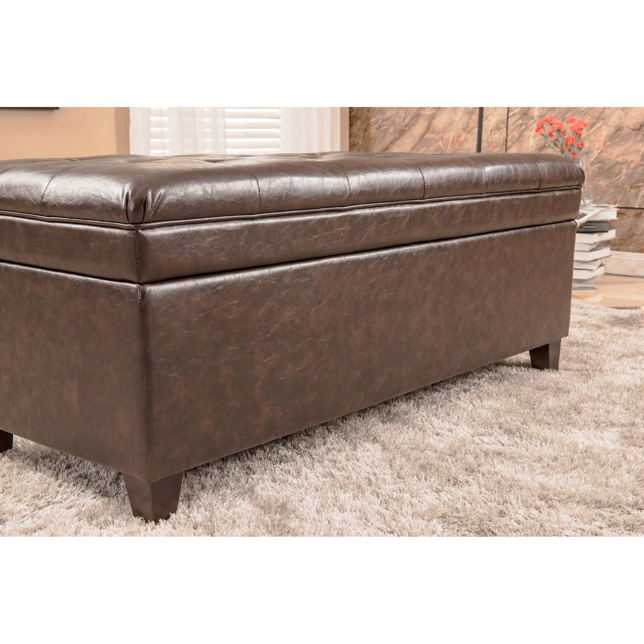 bellasario collection upholstered storage bedroom bench