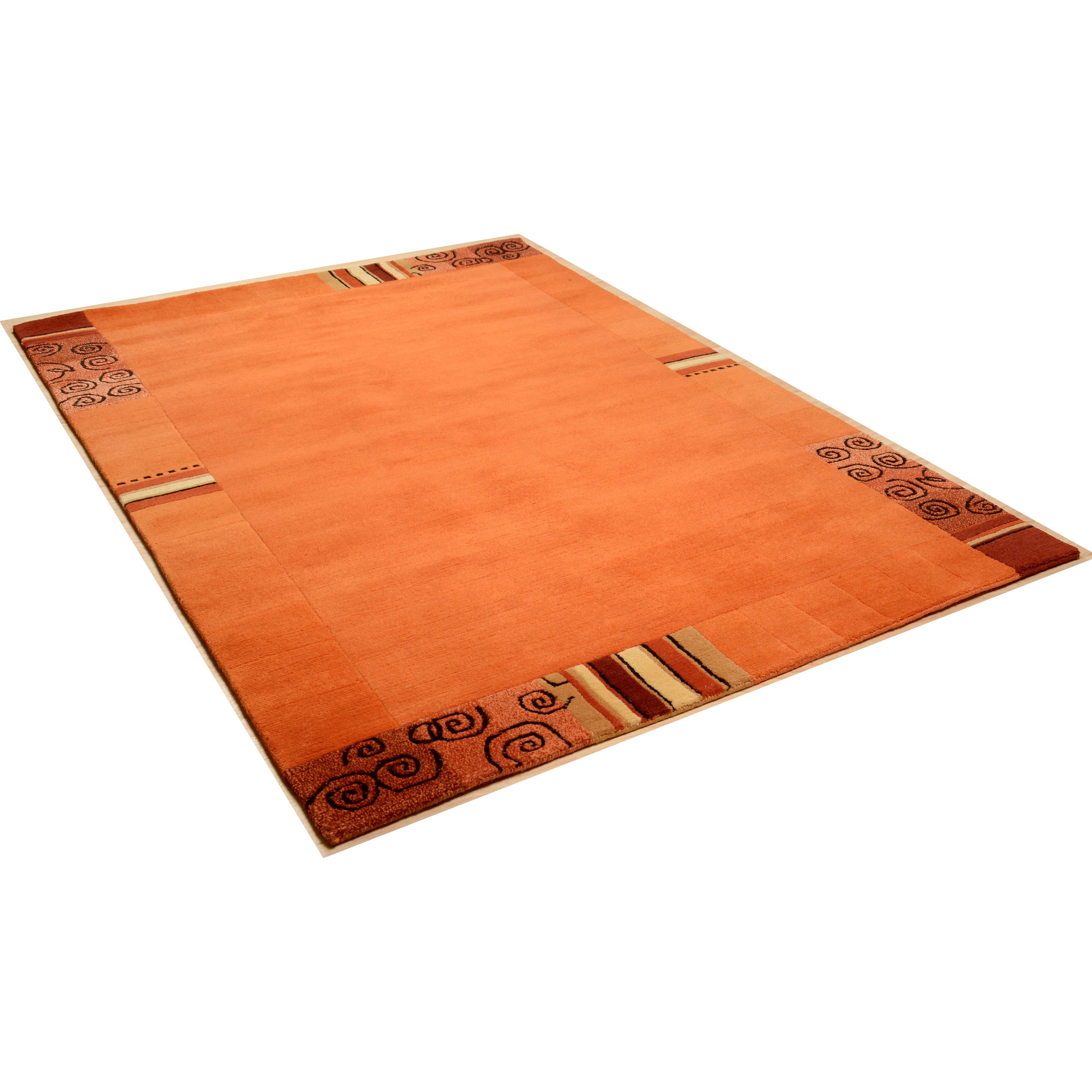 Theko Handgeknüpfter Teppich Everest in Orange