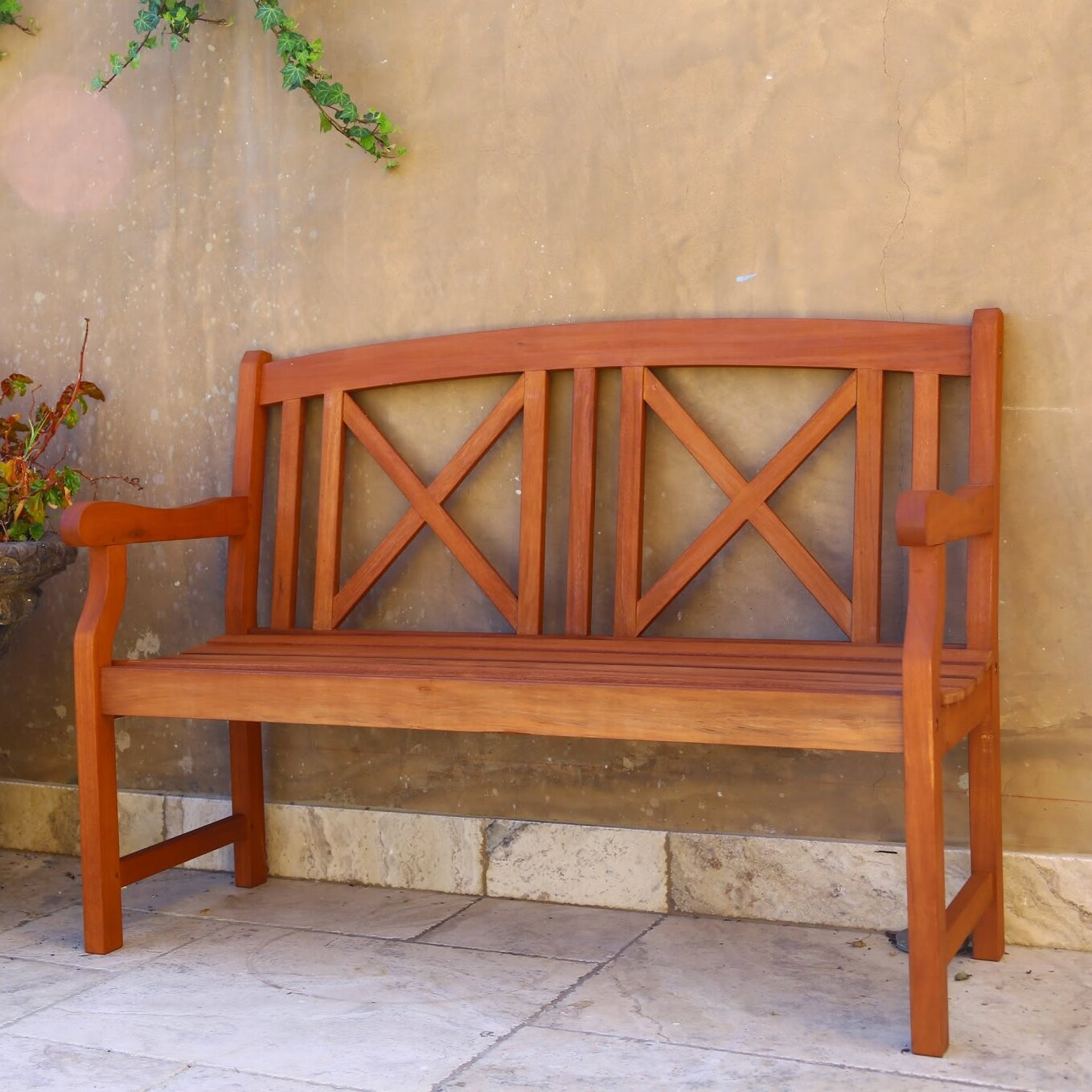 Vifah Contemporary Outdoor Wood Garden Bench Reviews