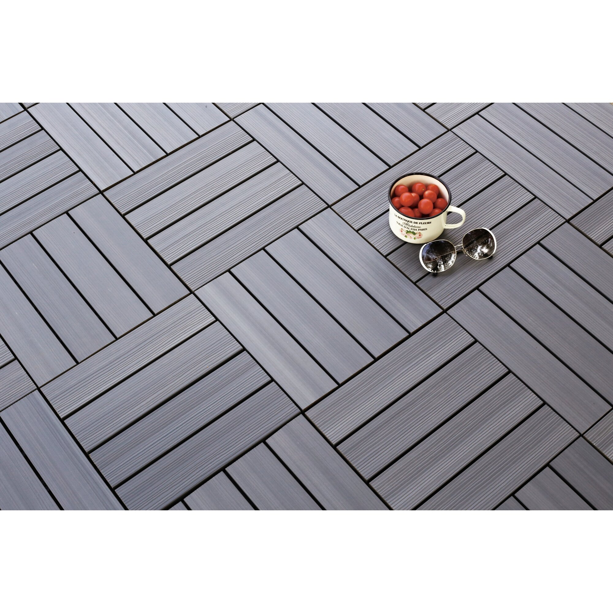 Newtechwood ultrashield westminster wood 12 x 12 outdoor for 12 x 12 wood floor tiles