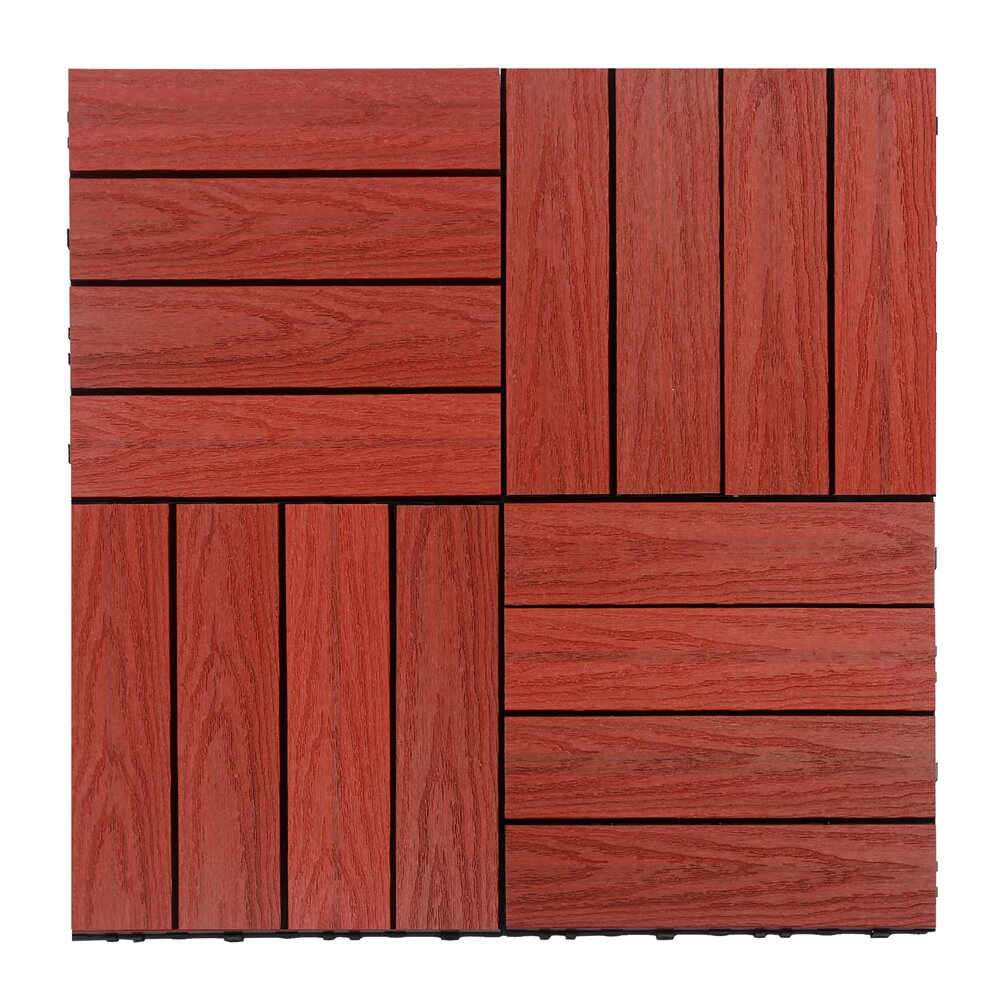 newtechwood naturale composite 12 x 12 interlocking deck tiles in swedish red wayfair. Black Bedroom Furniture Sets. Home Design Ideas
