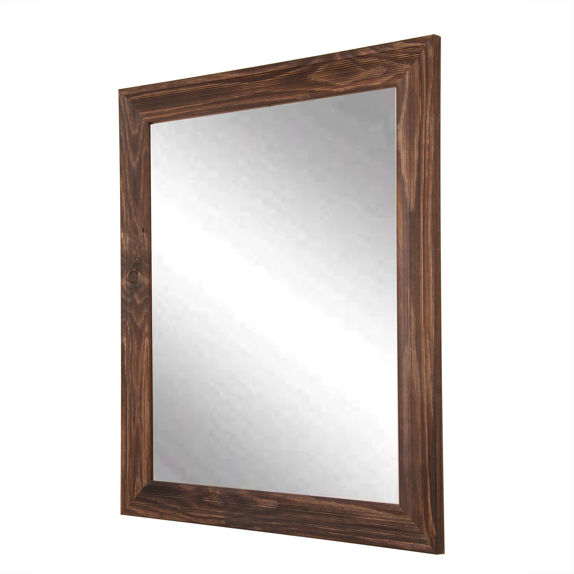 Brandtworksllc rustic espresso wall mirror wayfair for Rustic mirror
