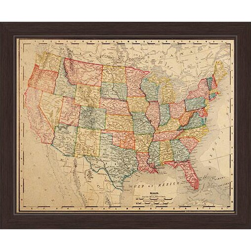 Click Wall Art Colored Map Of The United States Framed