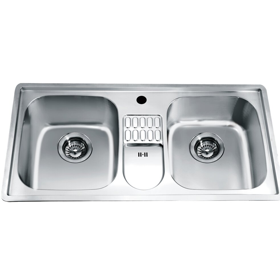 """Top Mount Sink Kitchen: Dawn USA 38.75"""" X 19.13"""" Top Mount Equal Double Bowl"""