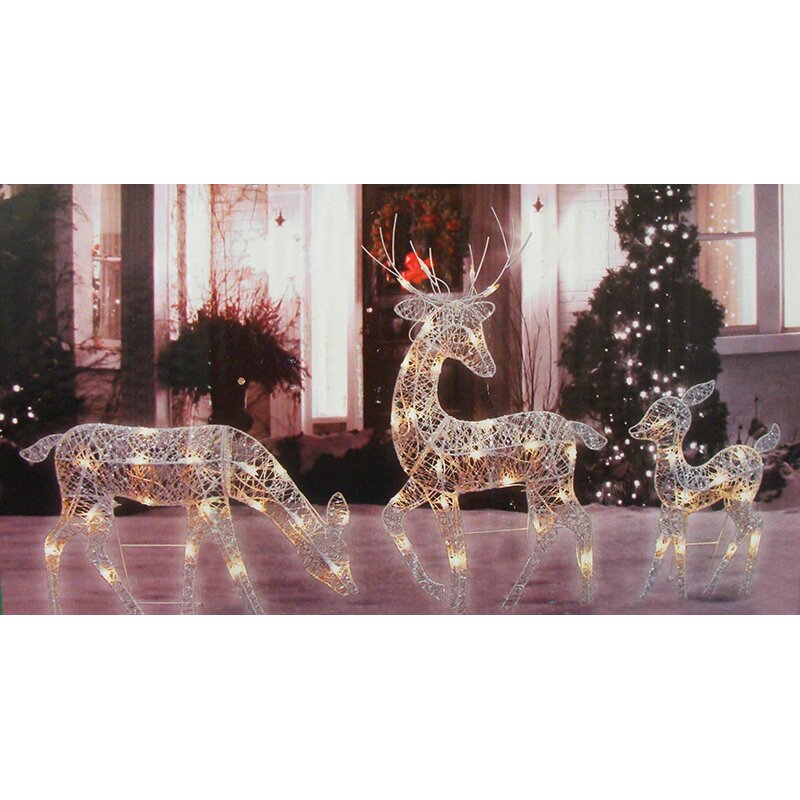 Penndistributing 3 piece glittered doe fawn and reindeer for Christmas deer outdoor decorations