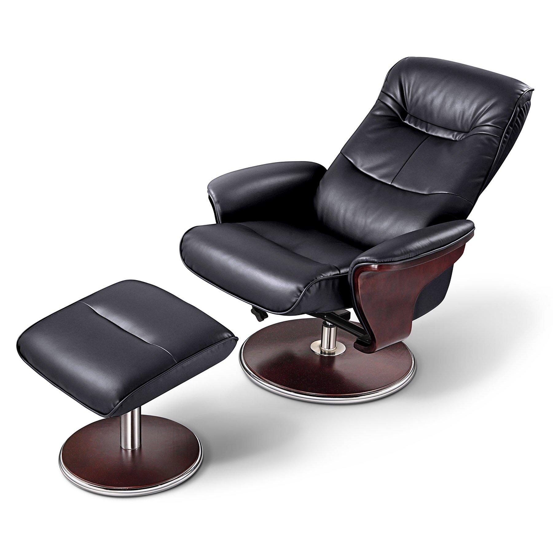 Milano Leather Recliner Sofa: Artiva USA Milano Leather Swivel Recliner And Ottoman