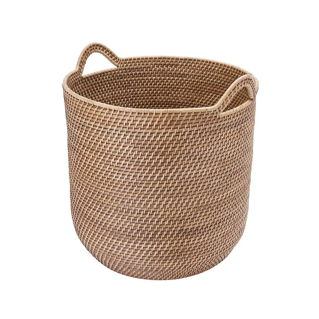 Round Wicker Baskets With Handles : Kouboo laguna round rattan storage basket with ear handles