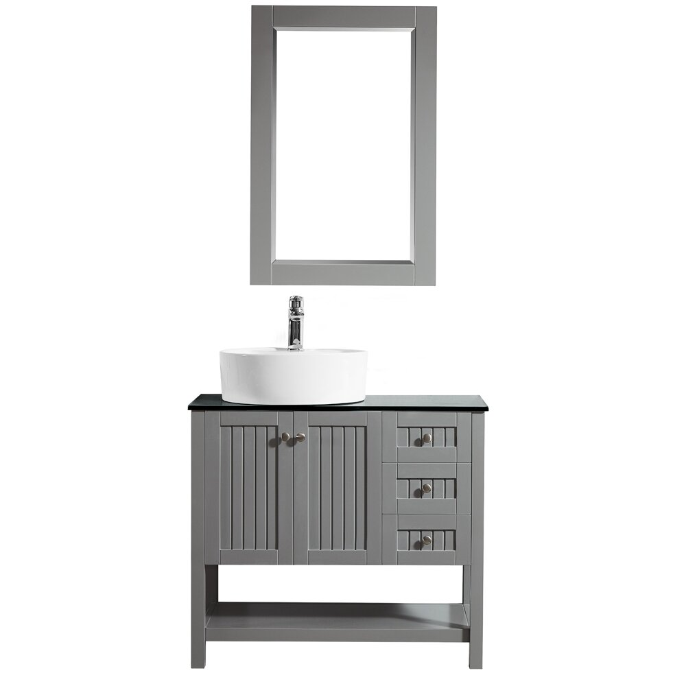 Vinnova modena 36 single bathroom vanity set with mirror for Kitchen set modena