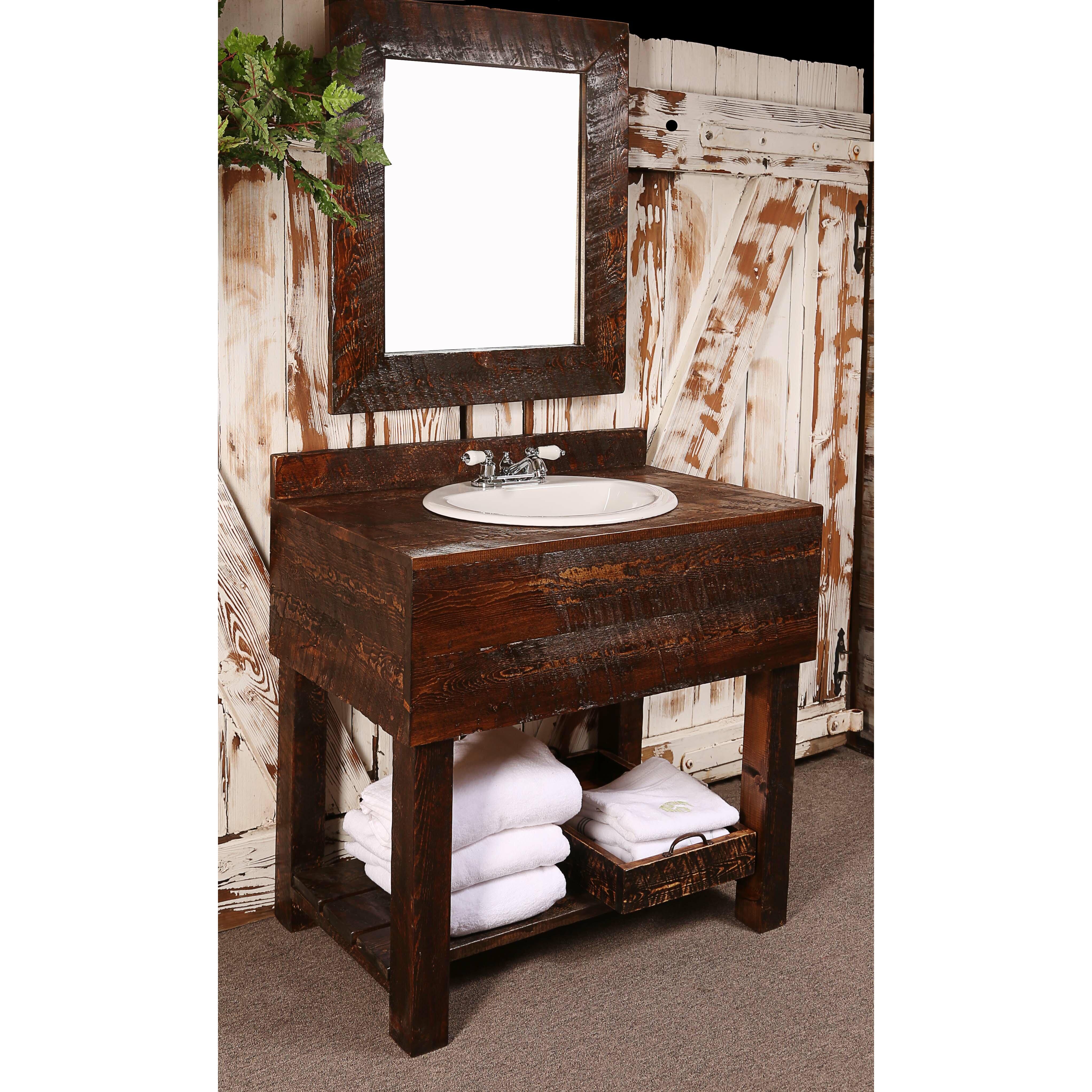 """Utah Mountain 36"""" Single Rough Hewn Bathroom Vanity Set ..."""