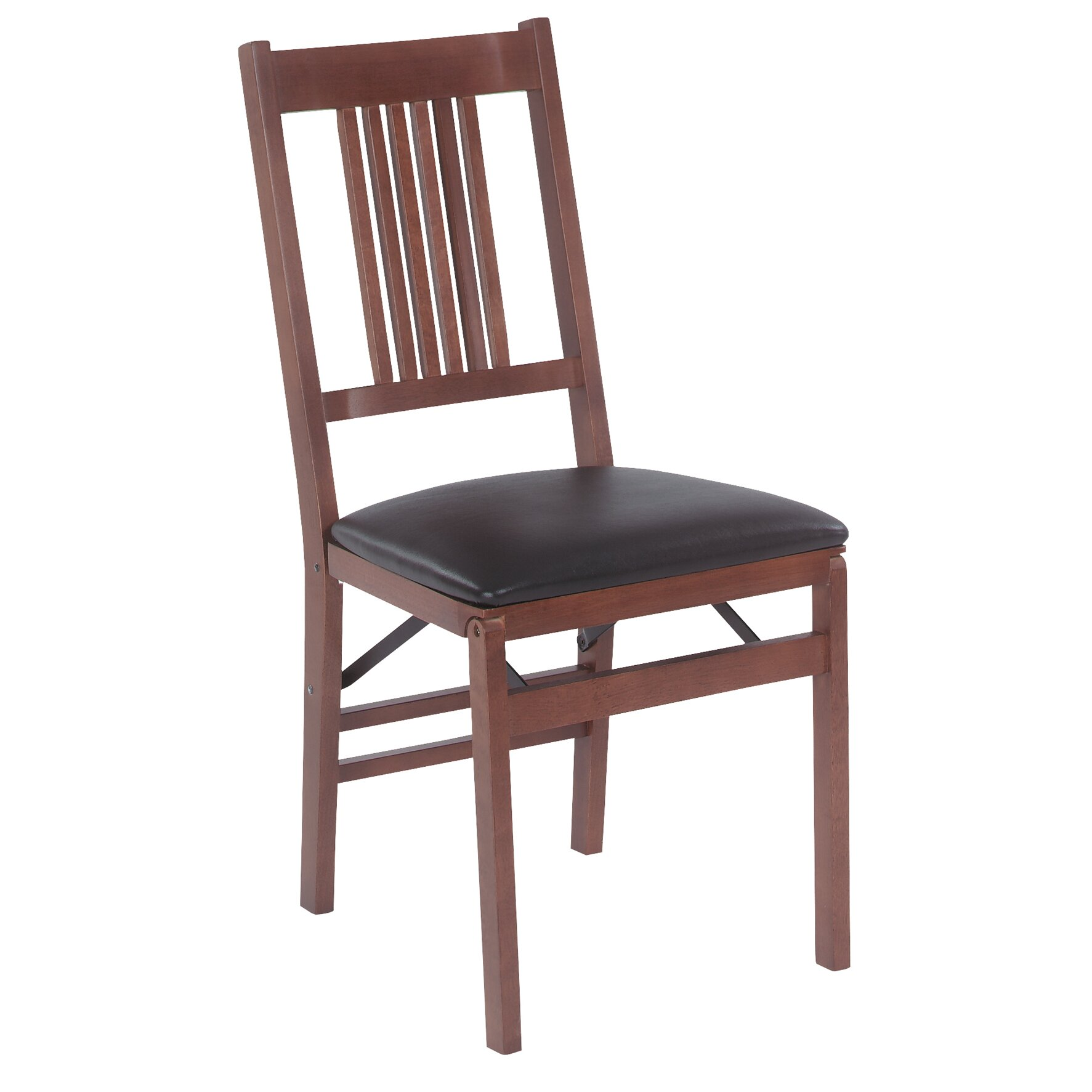 Stakmore true mission wood folding chair with vinyl seat for Stackable dining room chairs