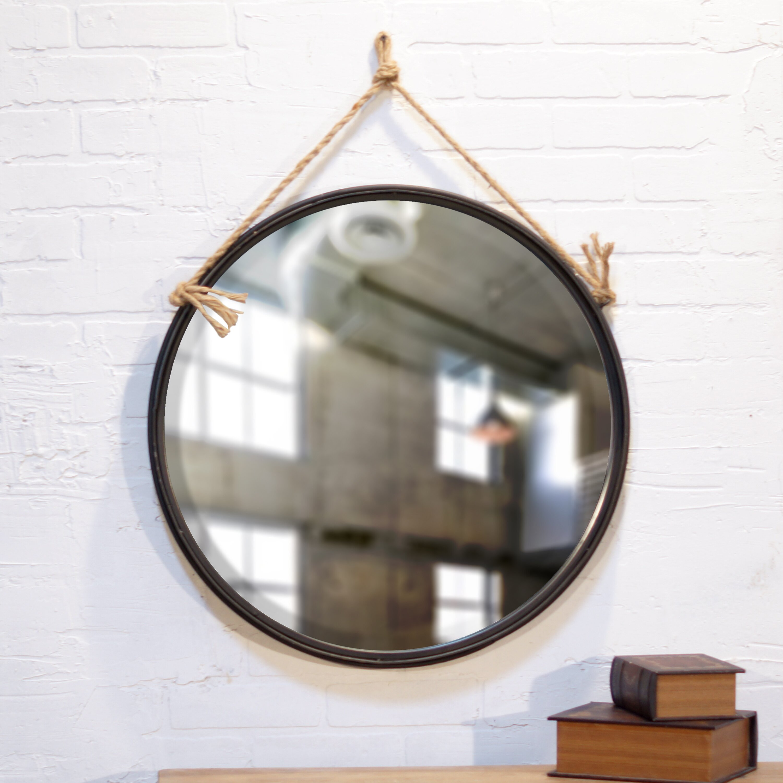 american mercantile metal round rope hanging mirror reviews wayfair. Black Bedroom Furniture Sets. Home Design Ideas