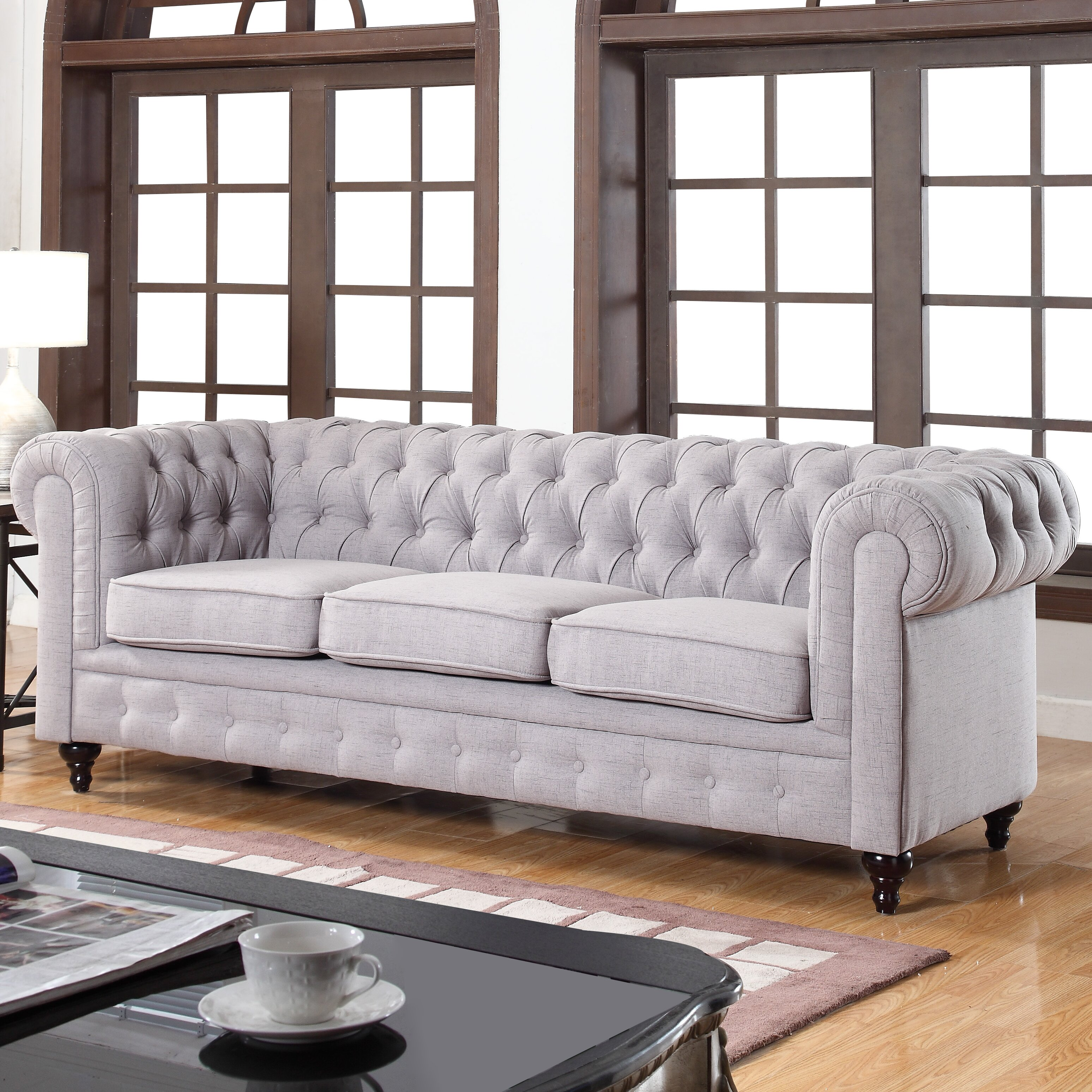 Madison Home USA Classic Tufted Linen Fabric Chesterfield